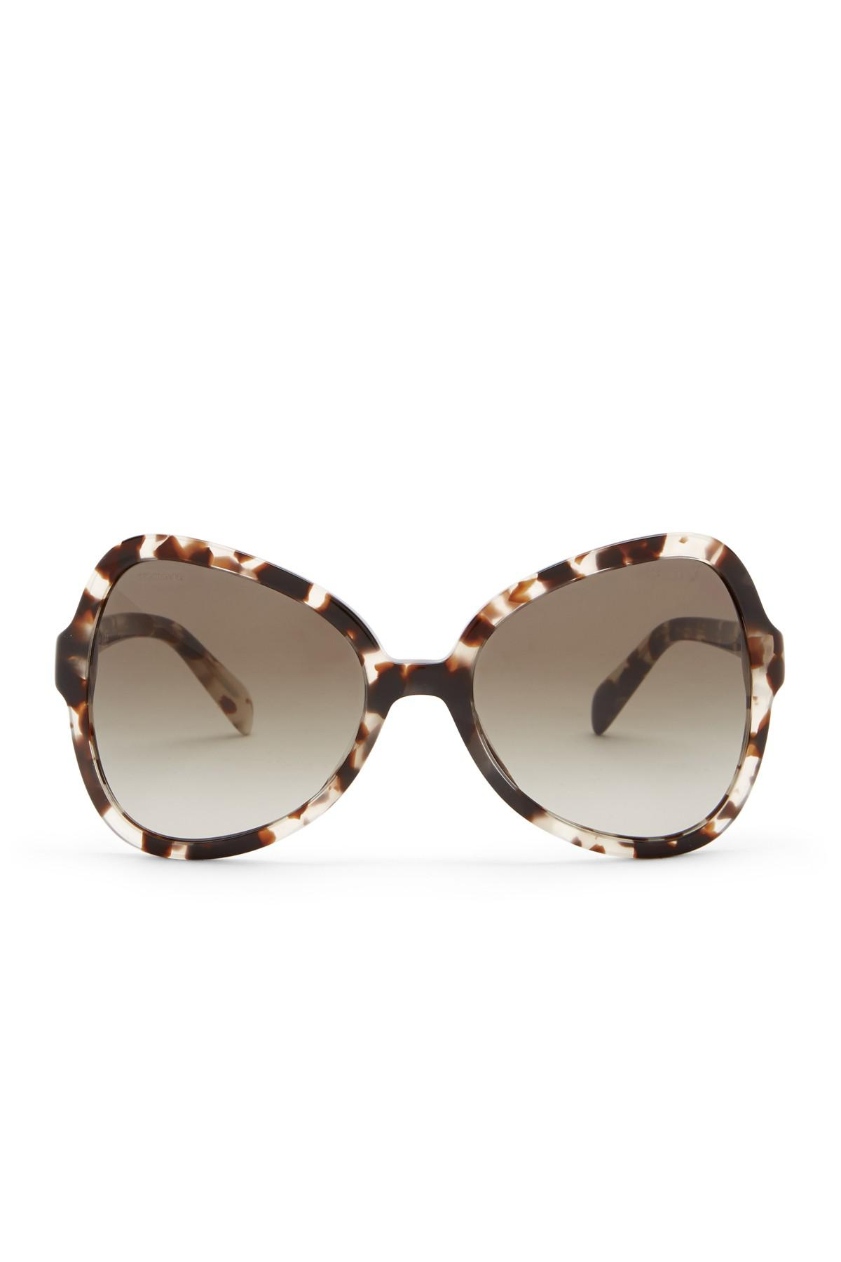 dbf9df0a0978 ... low price lyst prada 56mm butterfly sunglasses in brown b0f72 f91f6