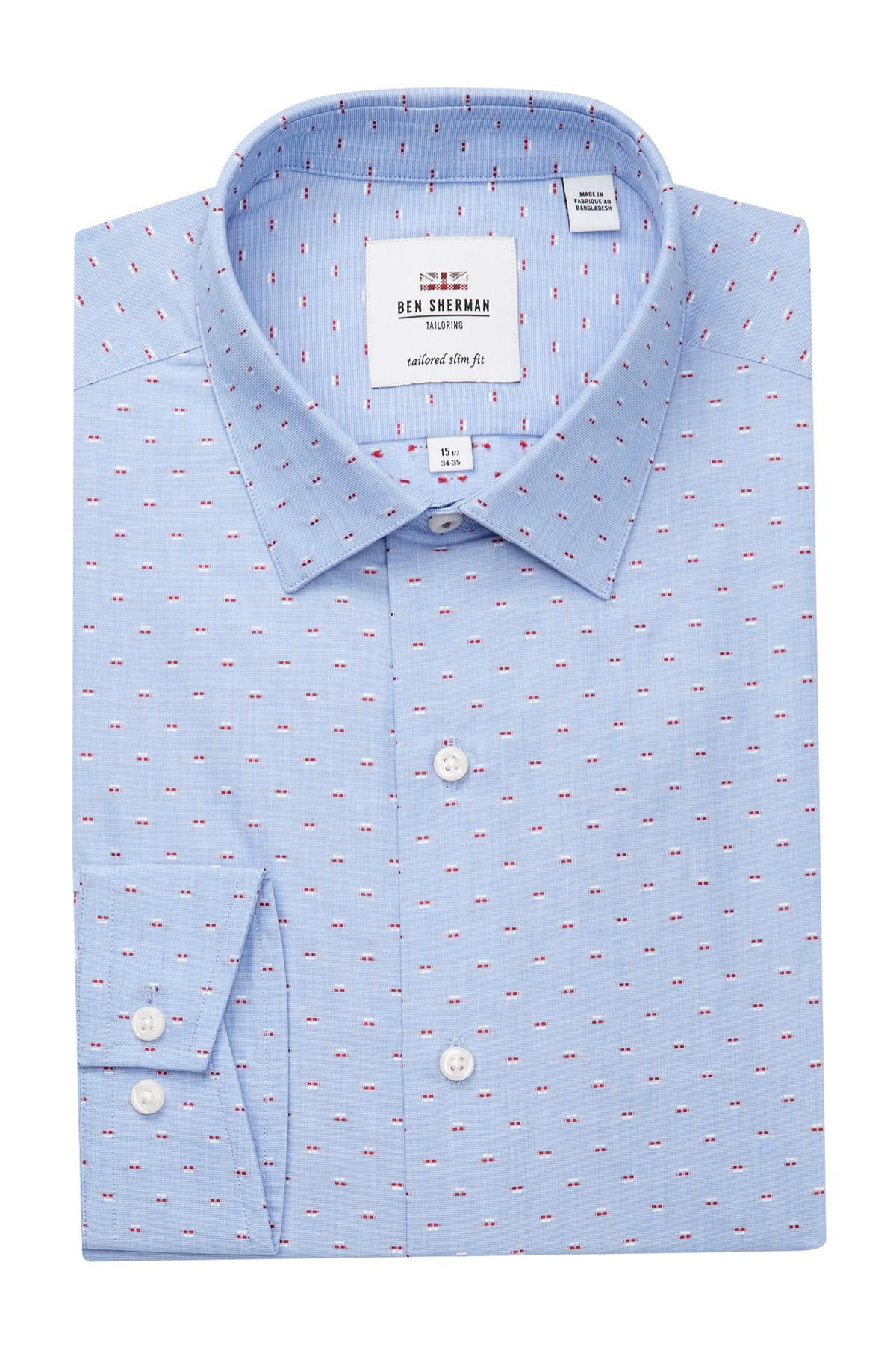 Ben Sherman Spotted Tailored Slim Fit Dress Shirt In Blue