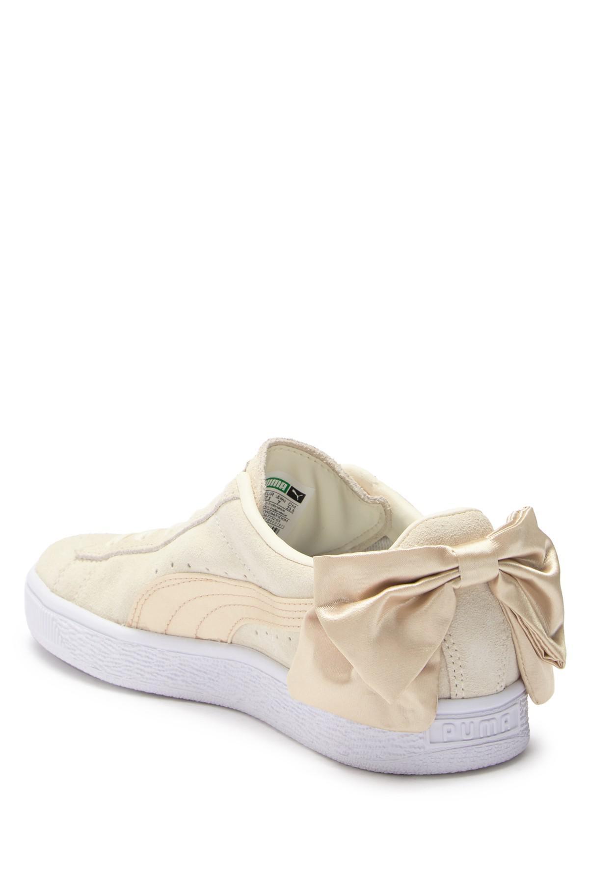 e5ff19f3df8 PUMA - White Suede Bow Varsity Sneaker - Lyst. View fullscreen