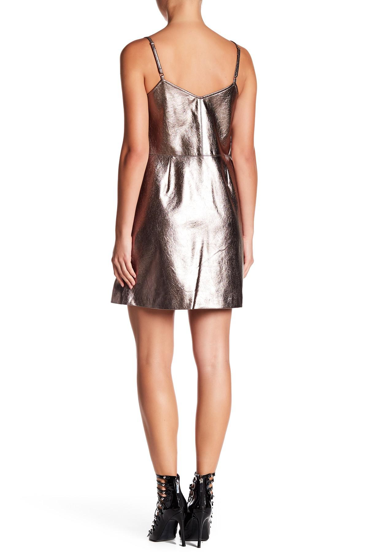 Gold Faux Leather Dress
