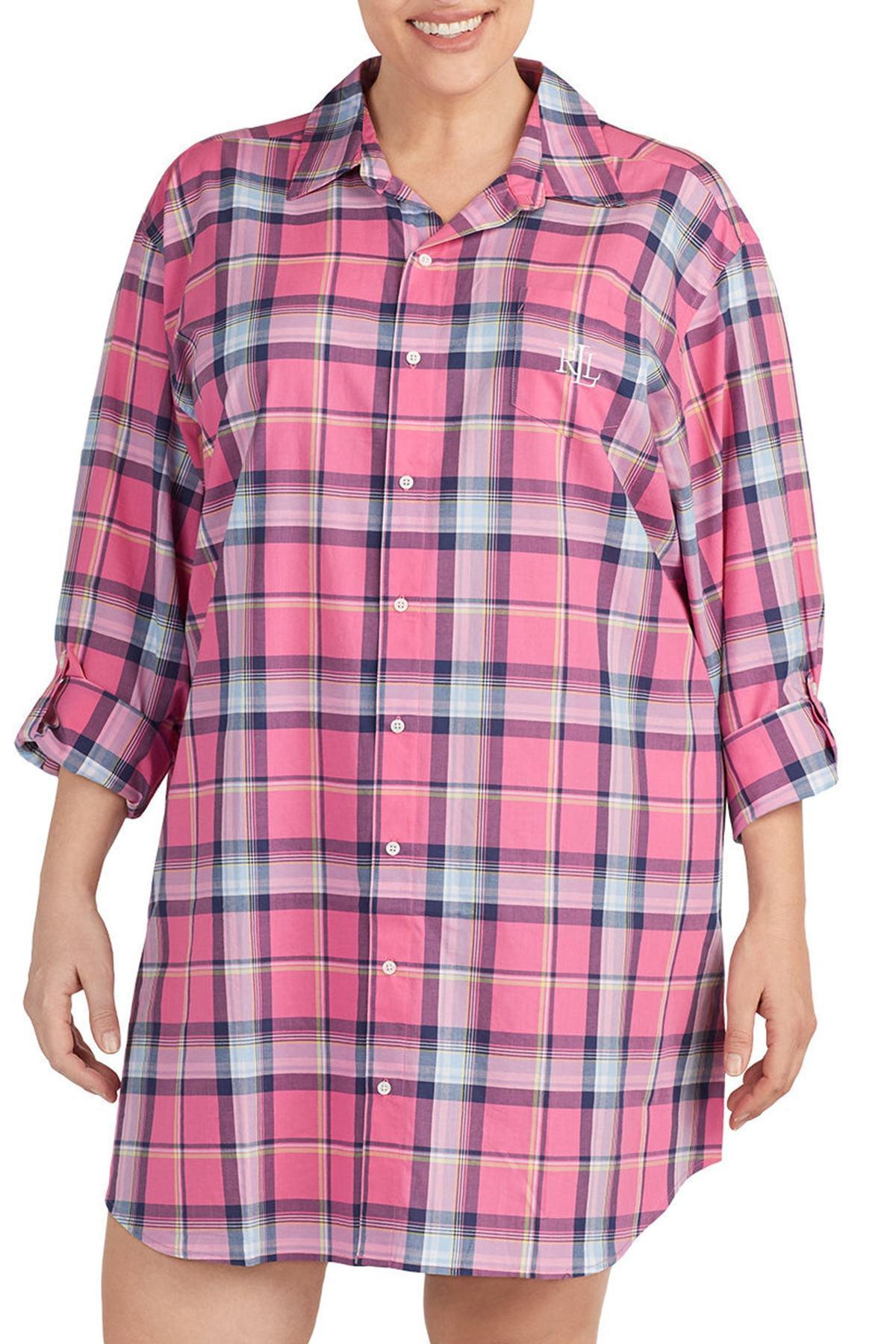 Lyst - Lauren By Ralph Lauren Plaid Sleep Shirt (plus Size) in Pink ... cb484f202