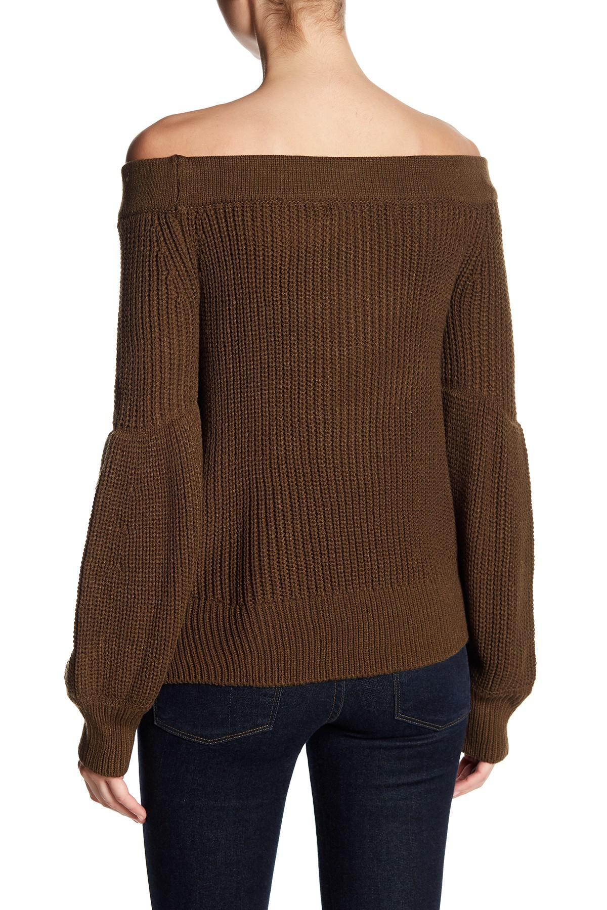 Haute rogue Boxy Off-the-shoulder Sweater in Green | Lyst