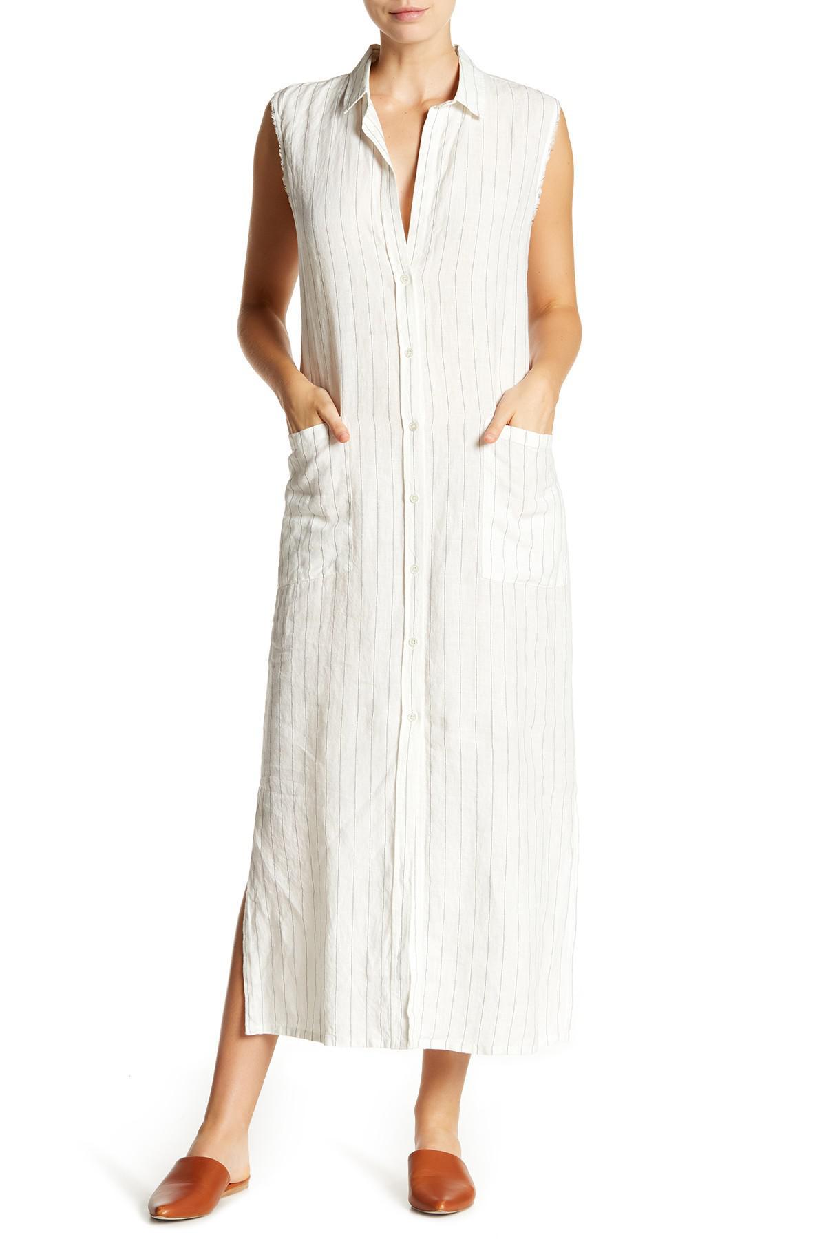 Lyst Frame Boyfriend Linen Maxi Shirt Dress In White