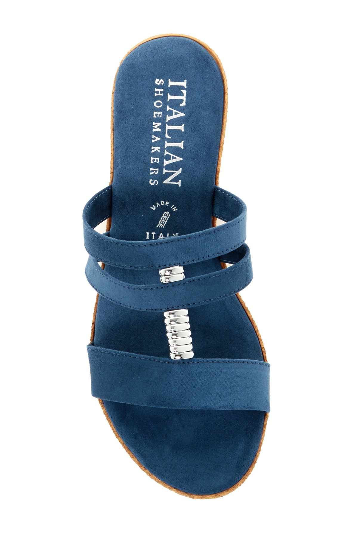 Italian Shoemakers Strappy Wedge Sandal In Blue Lyst