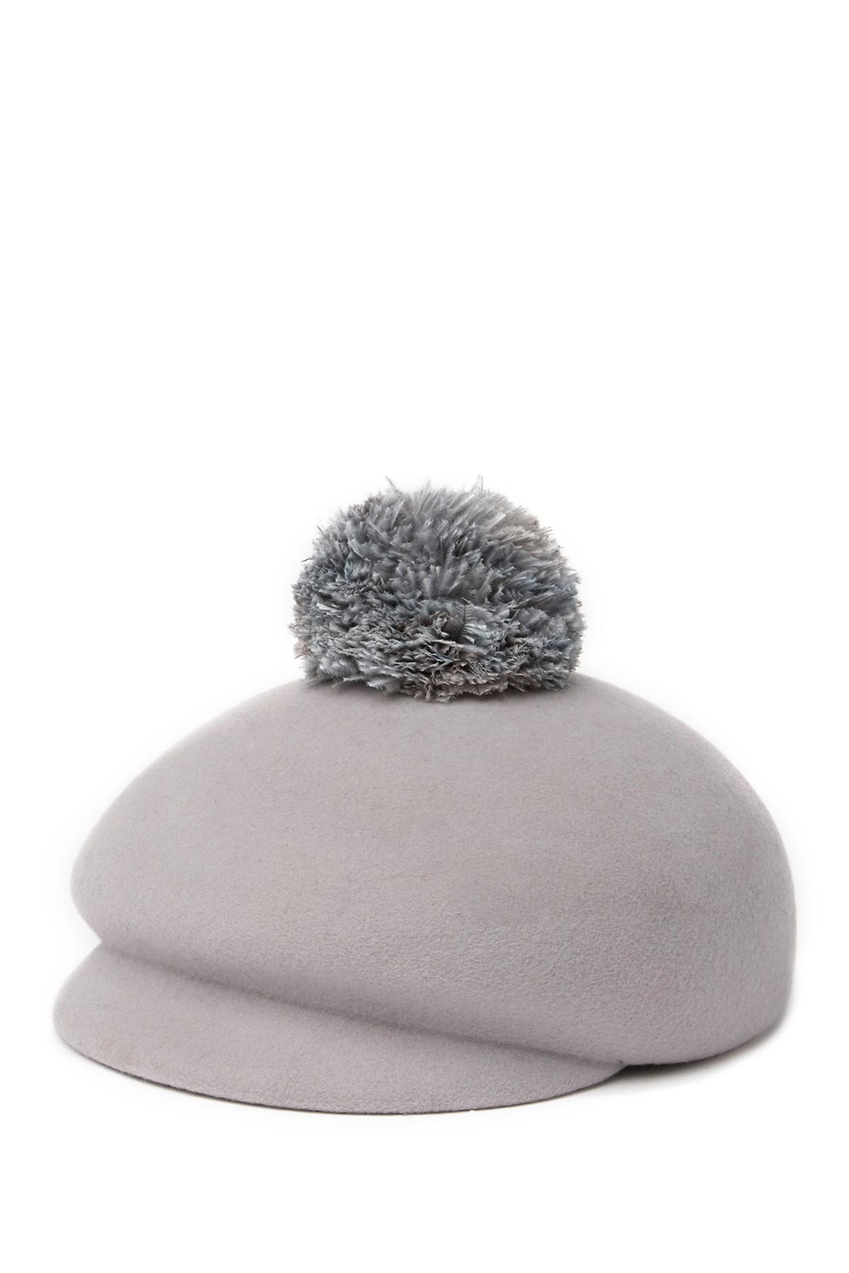 8307157f Eugenia Kim Ogden Feather Pompom Hat in Gray - Lyst
