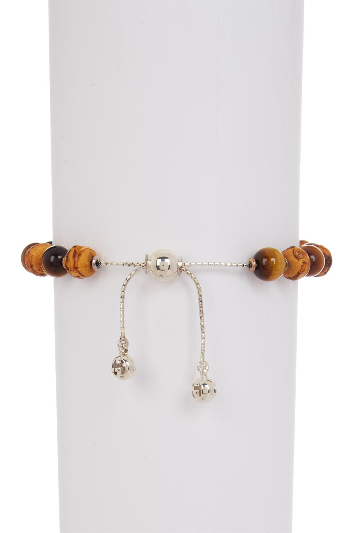 b099e7015 Lyst - Gucci Sterling Silver Beaded Bamboo Wood & Tiger's Eye ...