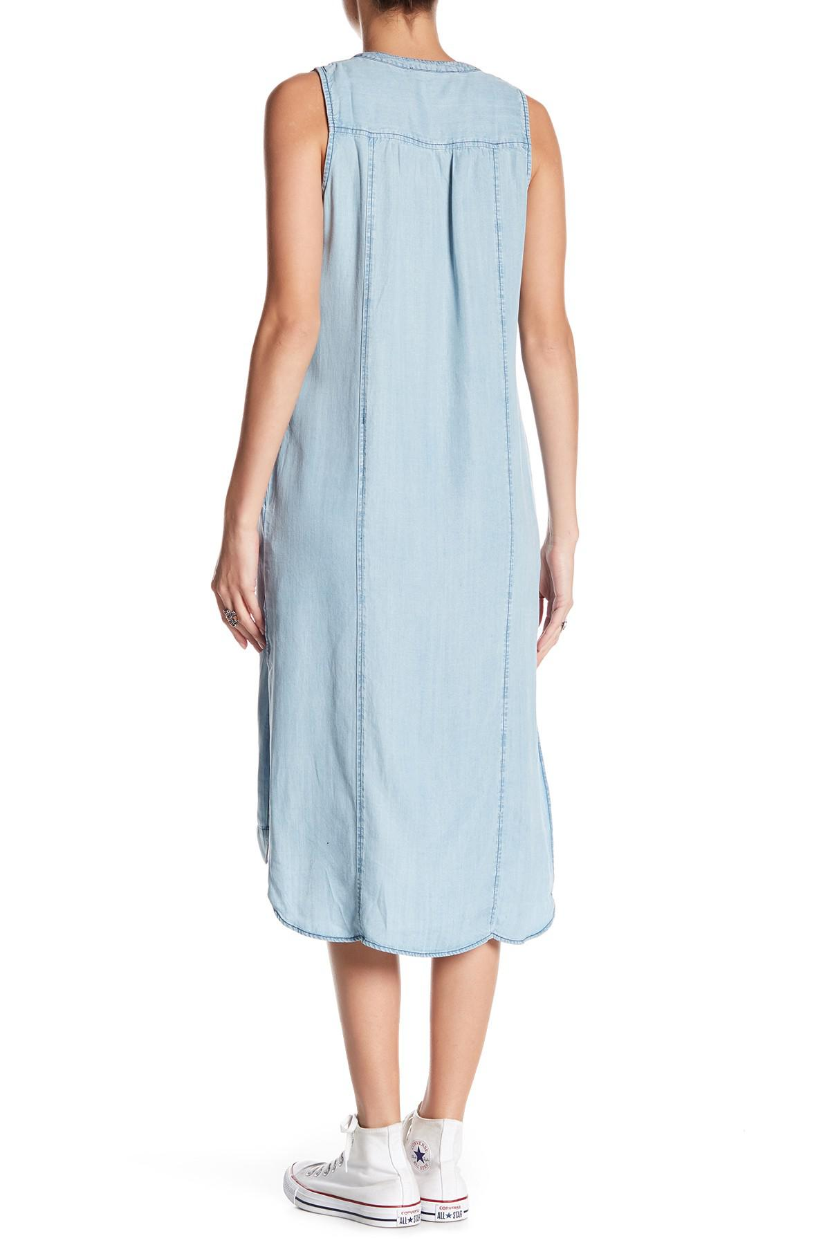 6a874b552f Love Stitch Sleeveless Chambray Midi Dress in Blue - Lyst