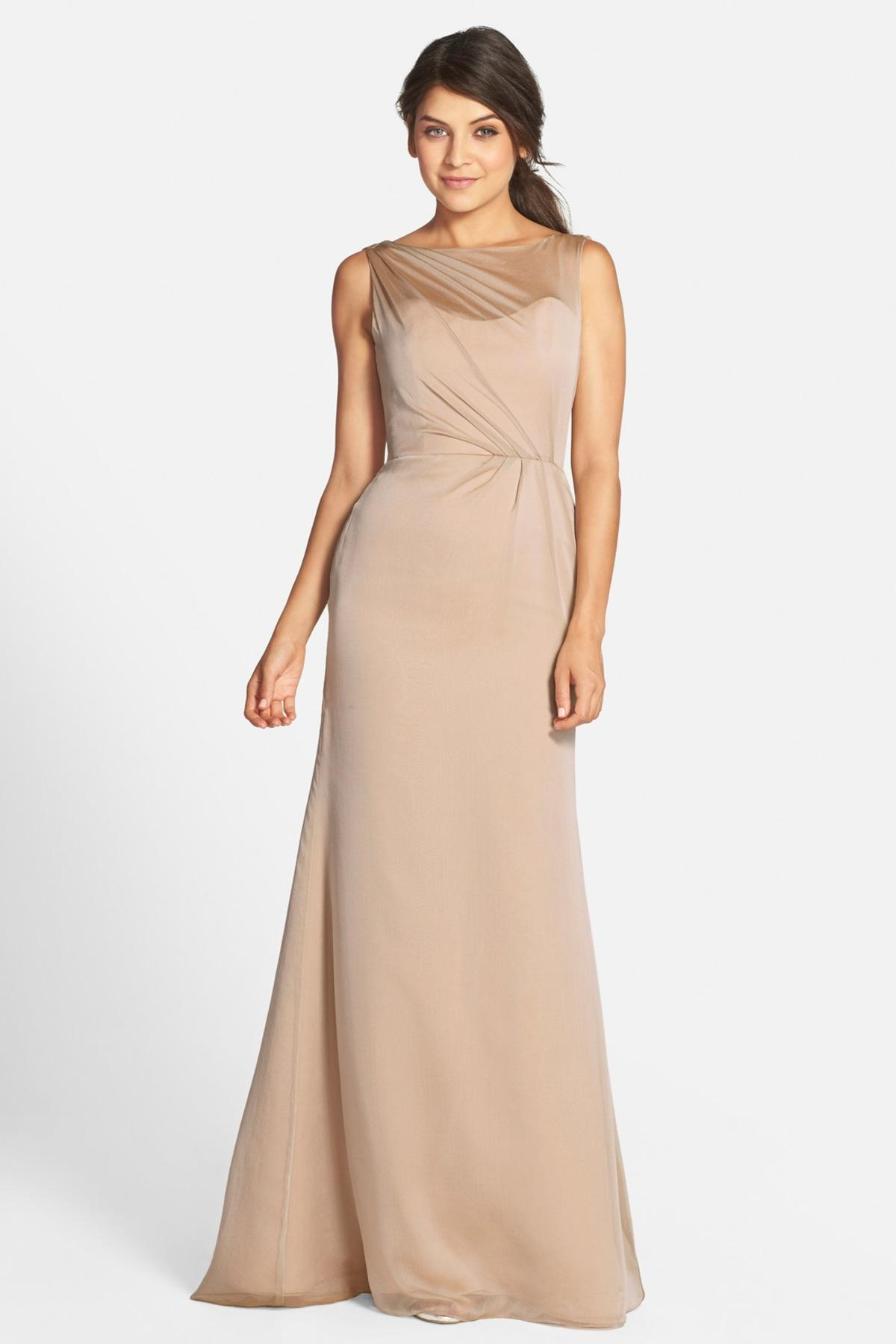 8aba4e1d978 Lyst - Jim Hjelm Occasions Drape Back Luminescent Chiffon A-line Gown