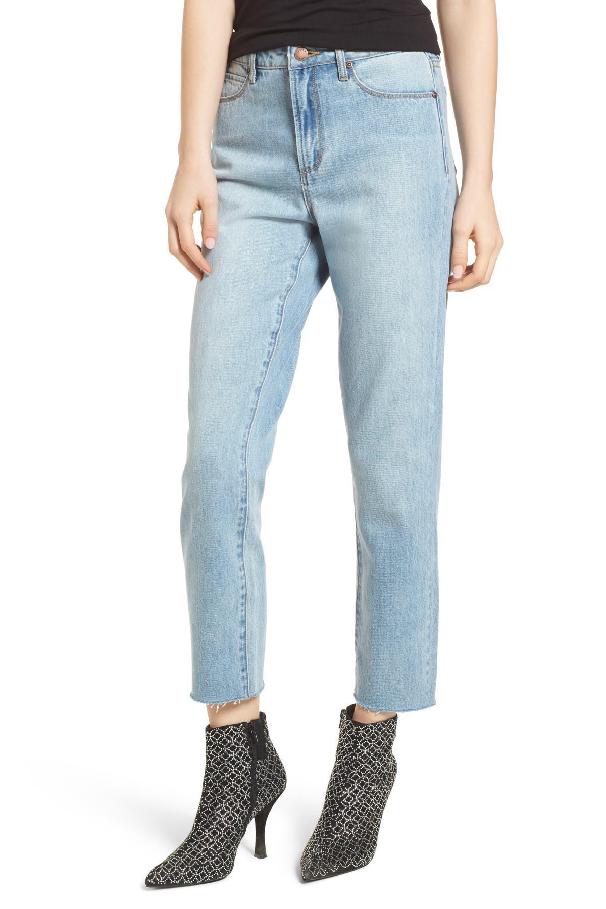 a0ad2d701 Leith High Waist Crop Straight Leg Jeans in Blue - Lyst