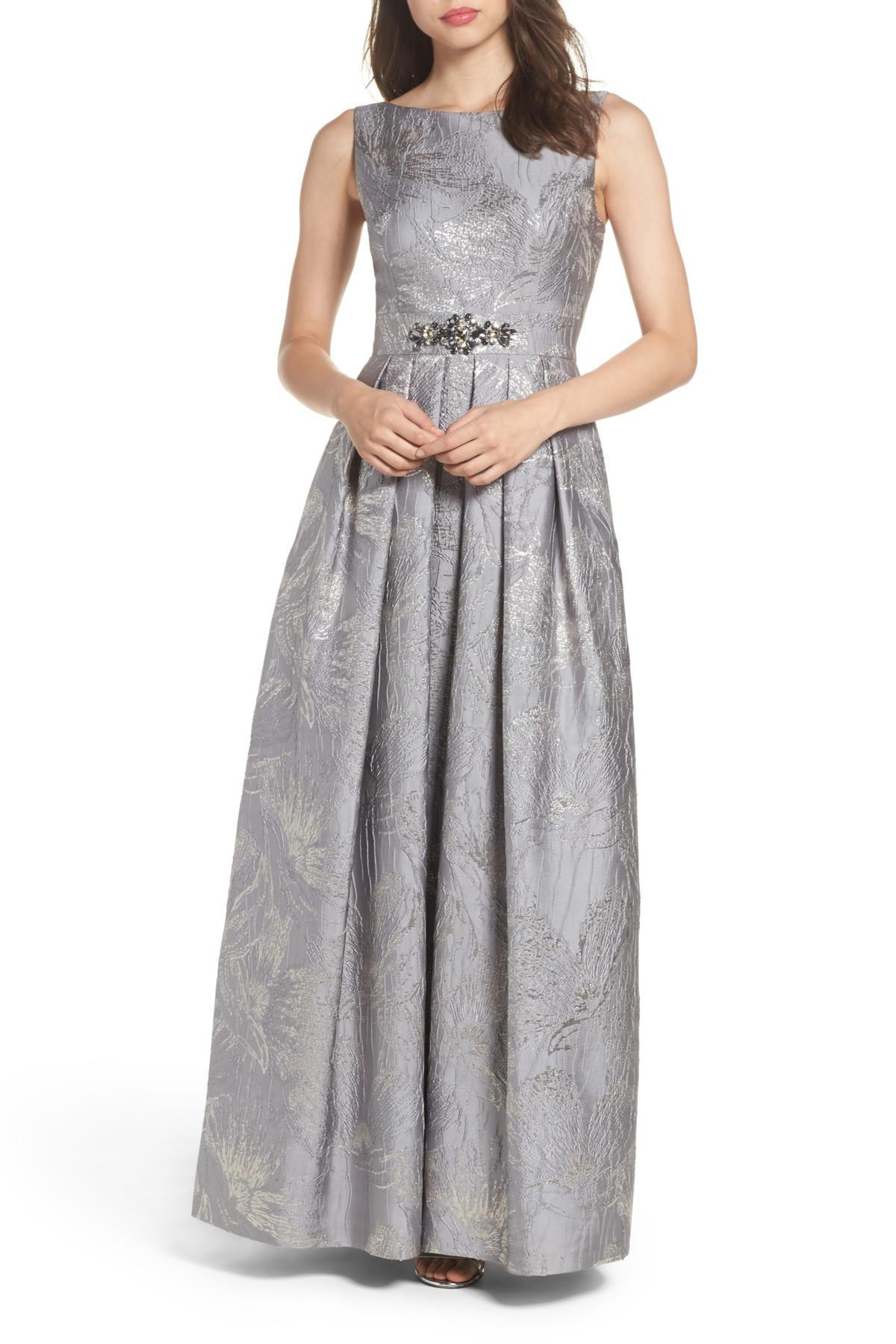 Lyst - Eliza J Embellished Brocade Ballgown in Metallic