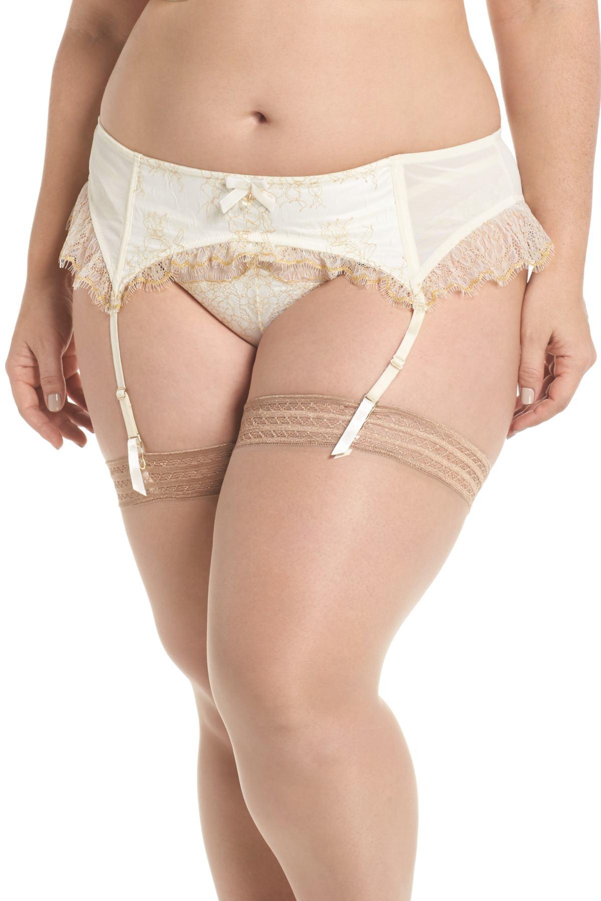 29380dd87e30 Playful Promises Karine Lace Garter Belt (plus Size) in White - Lyst
