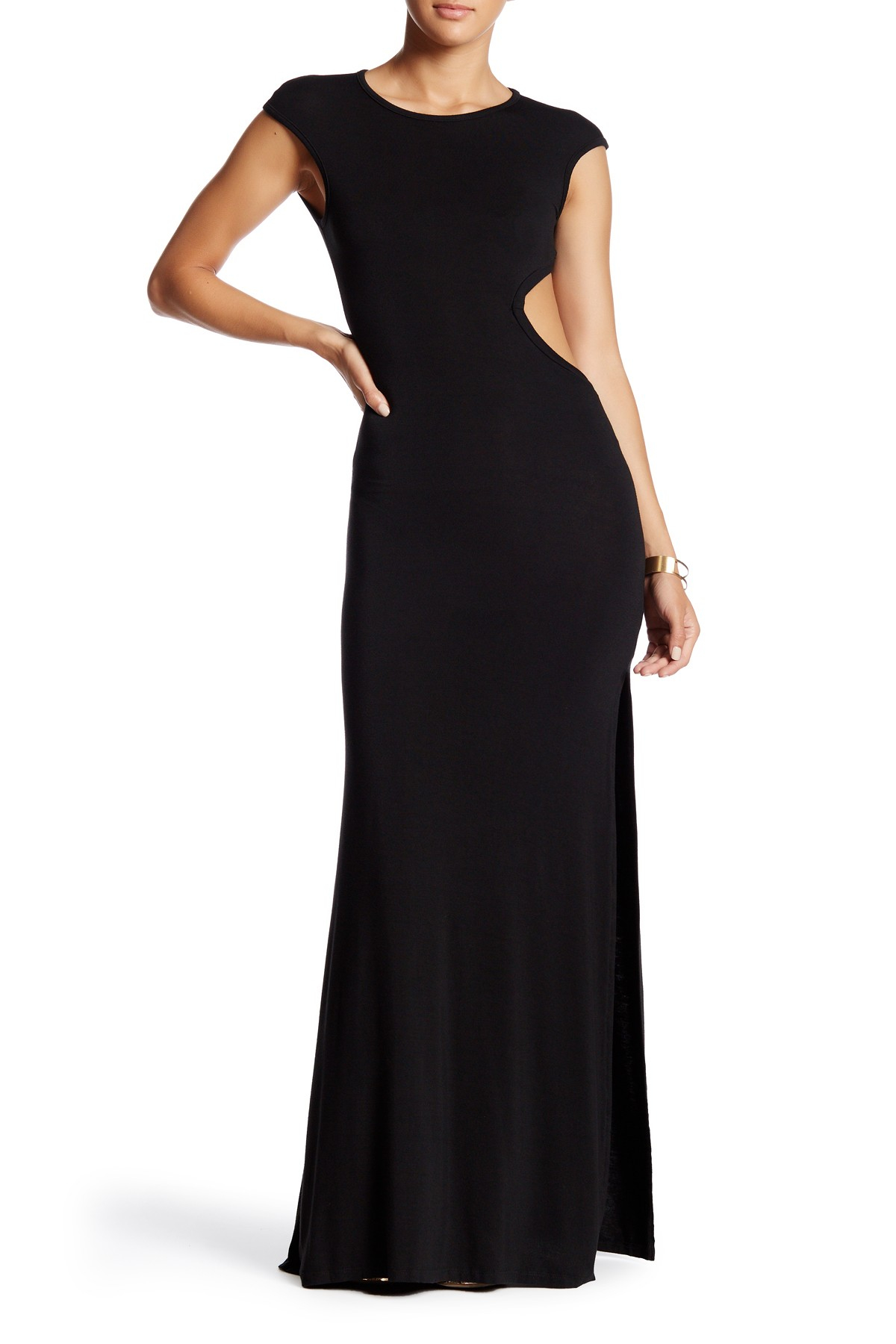 Go Couture Cap Sleeve Side Cutout Maxi Dress In Black Lyst