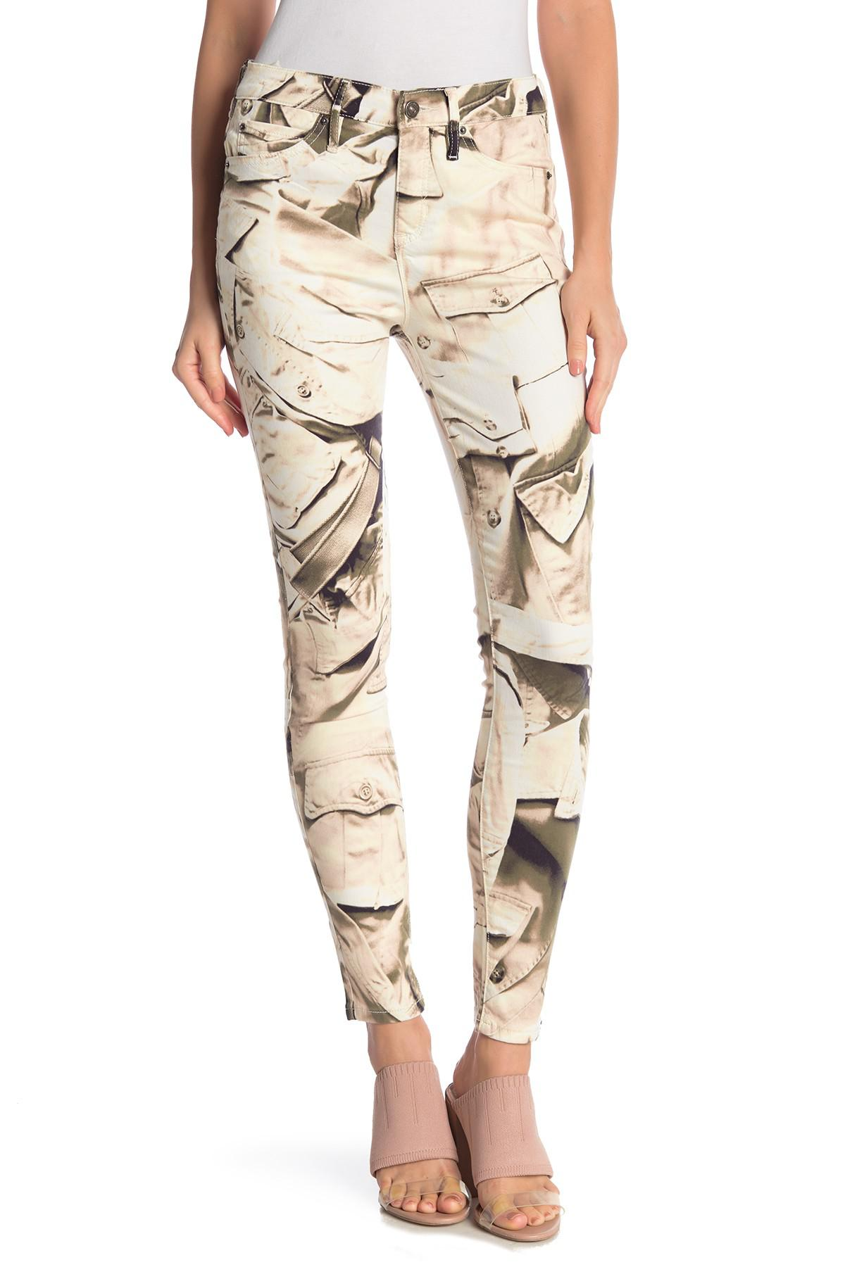 1c69748146eef Nicole Miller Printed Skinny Pants in Natural - Lyst