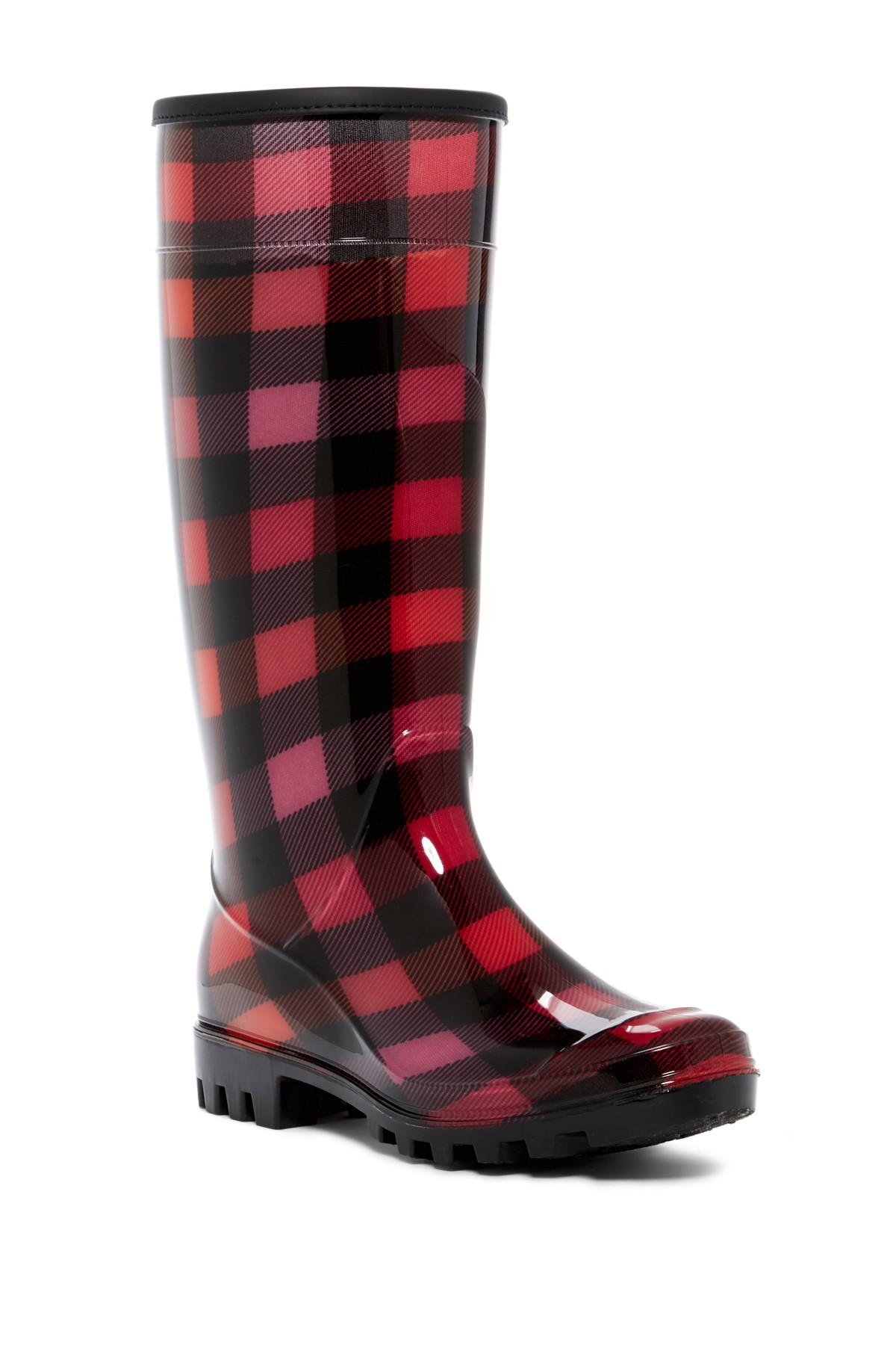 Dirty Laundry Ring Leader Plaid Rain Boot NwJfNA