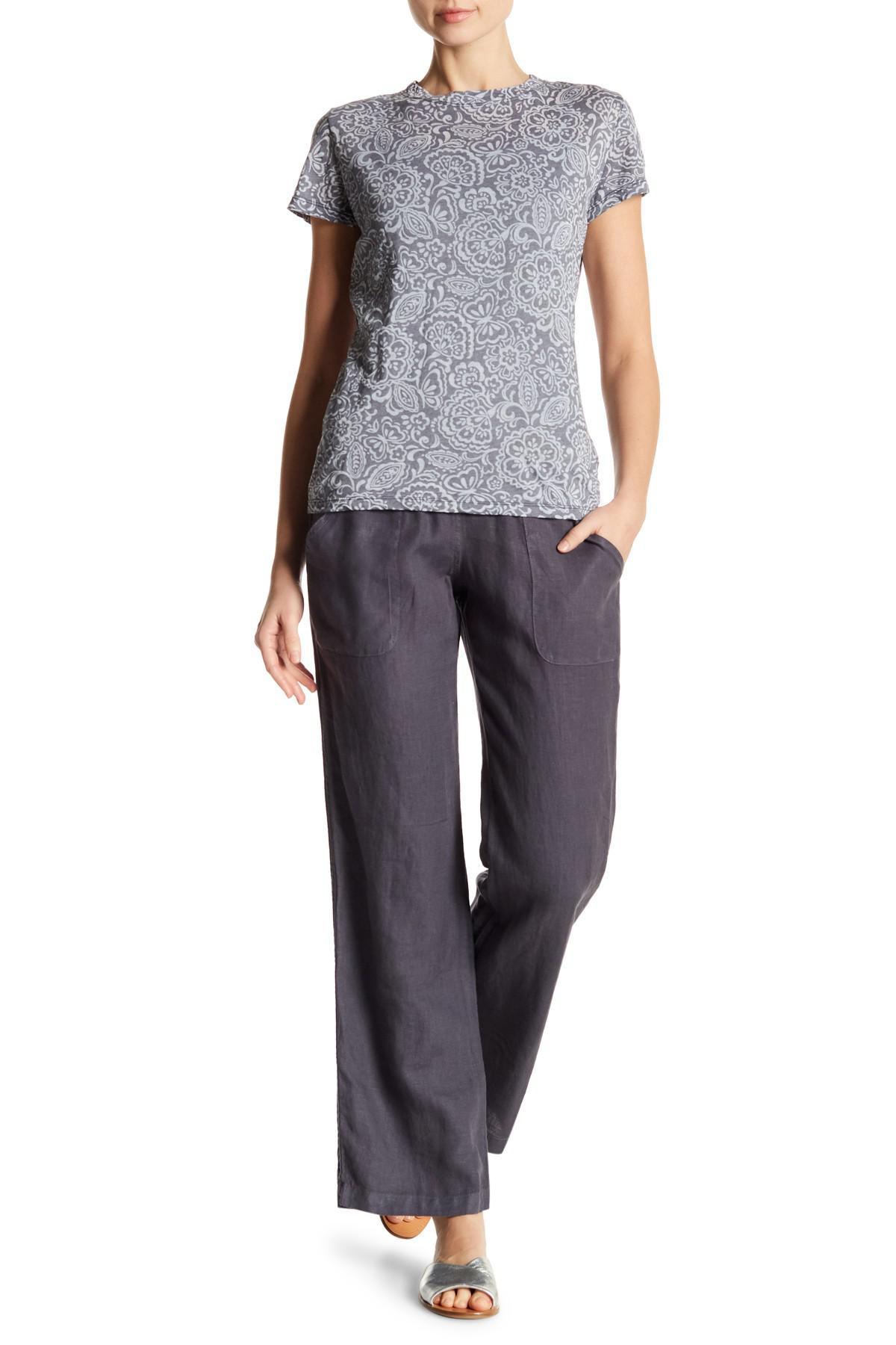 Lyst Allen Allen Knit Waist Long Linen Pants In Gray