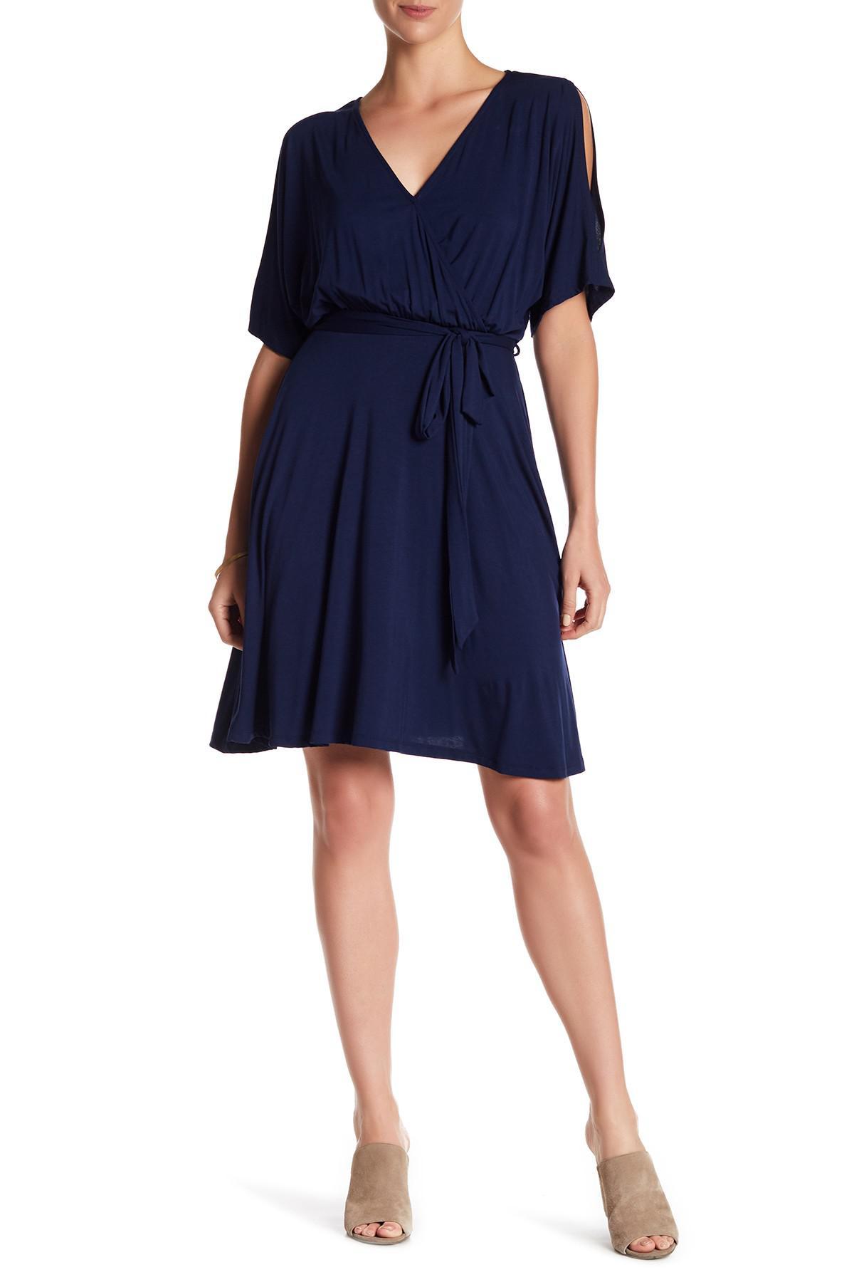 85e81509b1c West Kei Peek Shoulder Wrap Dress in Blue - Lyst