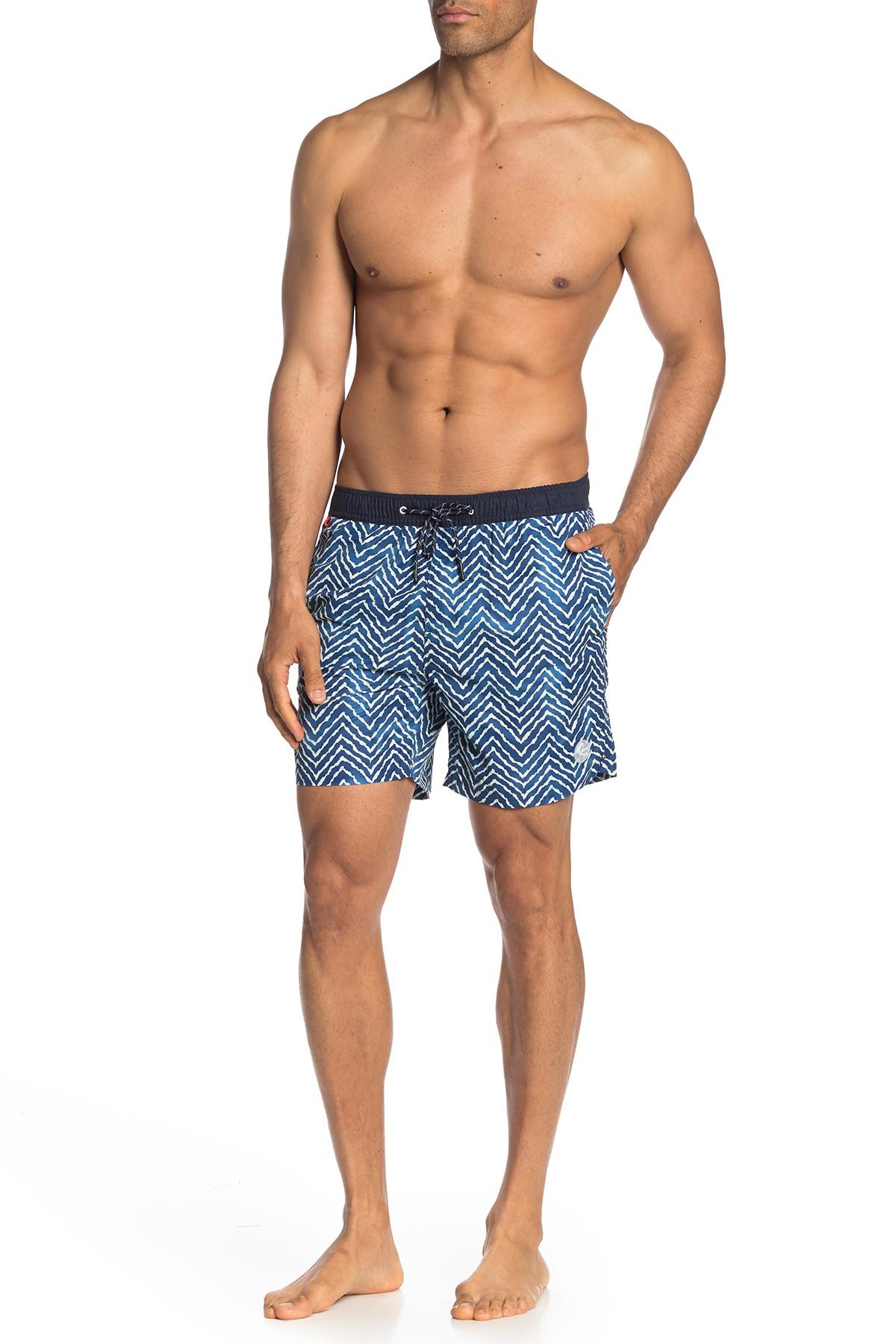 37ff94db43 Scotch & Soda Classic Patterned Swim Shorts in Blue for Men - Save ...