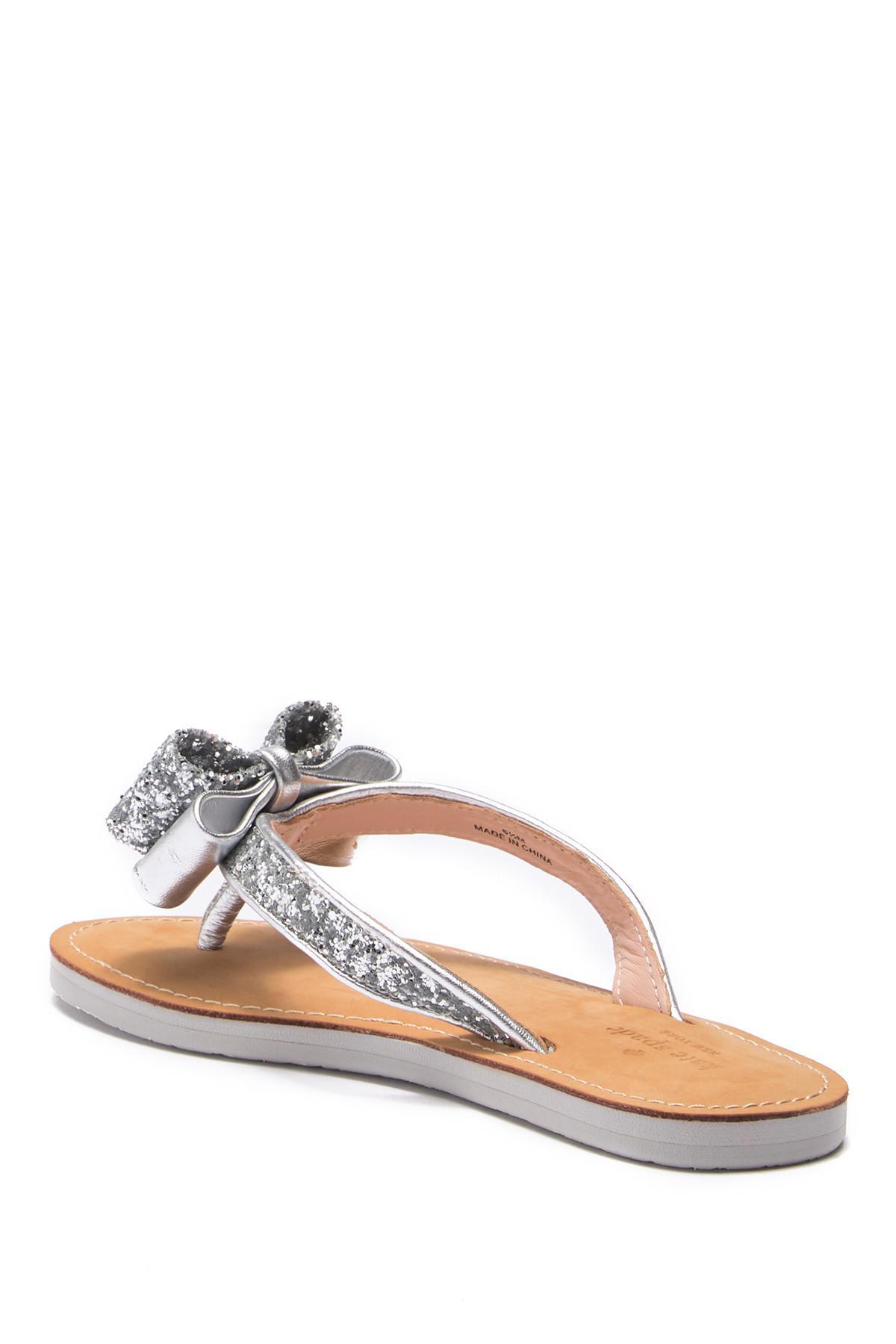 724d953b4efa Lyst - Kate Spade Icarda Glitter Bow Flip-flop in Metallic
