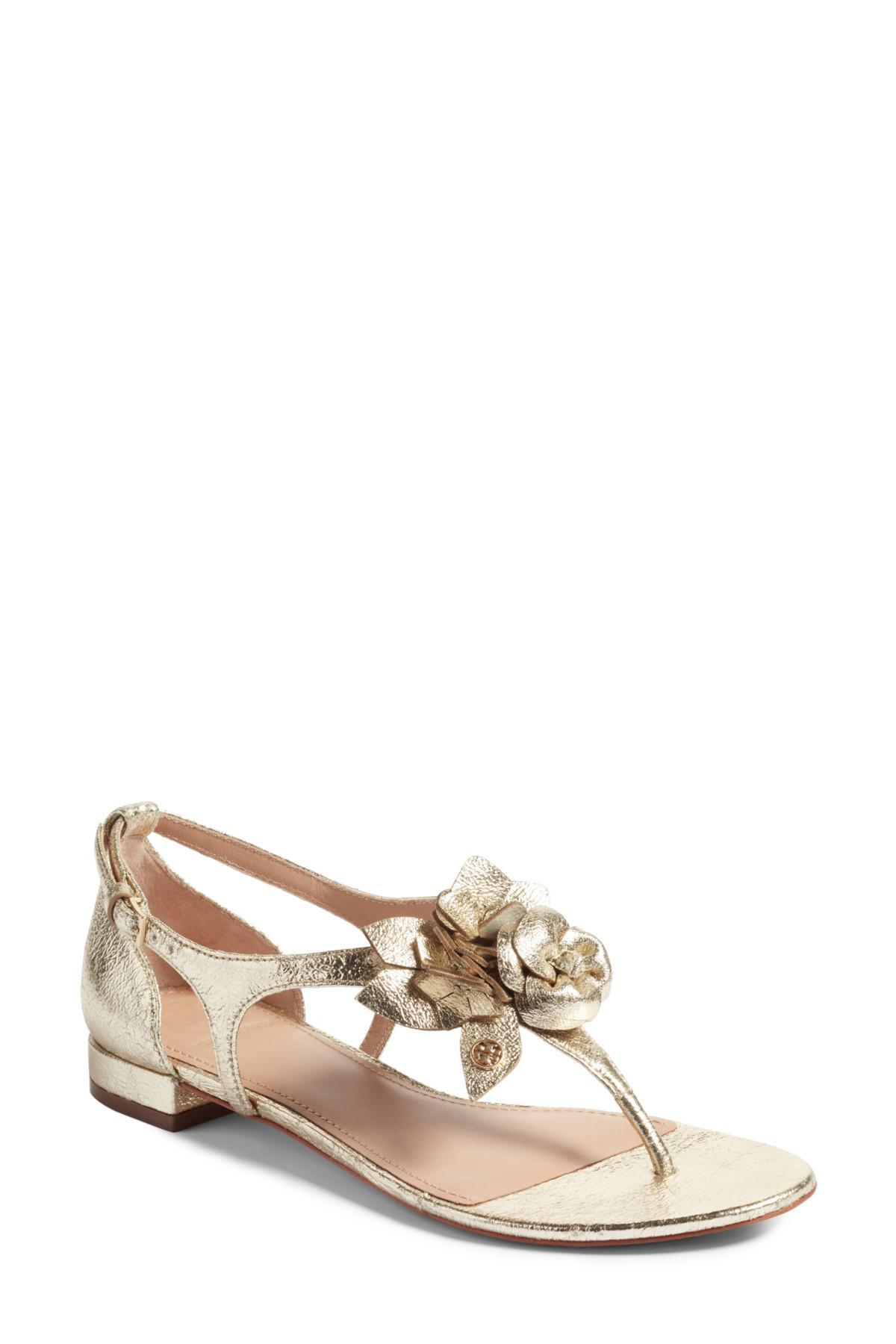 5f2a37e8678724 Lyst - Tory Burch Blossom Sandal in Metallic