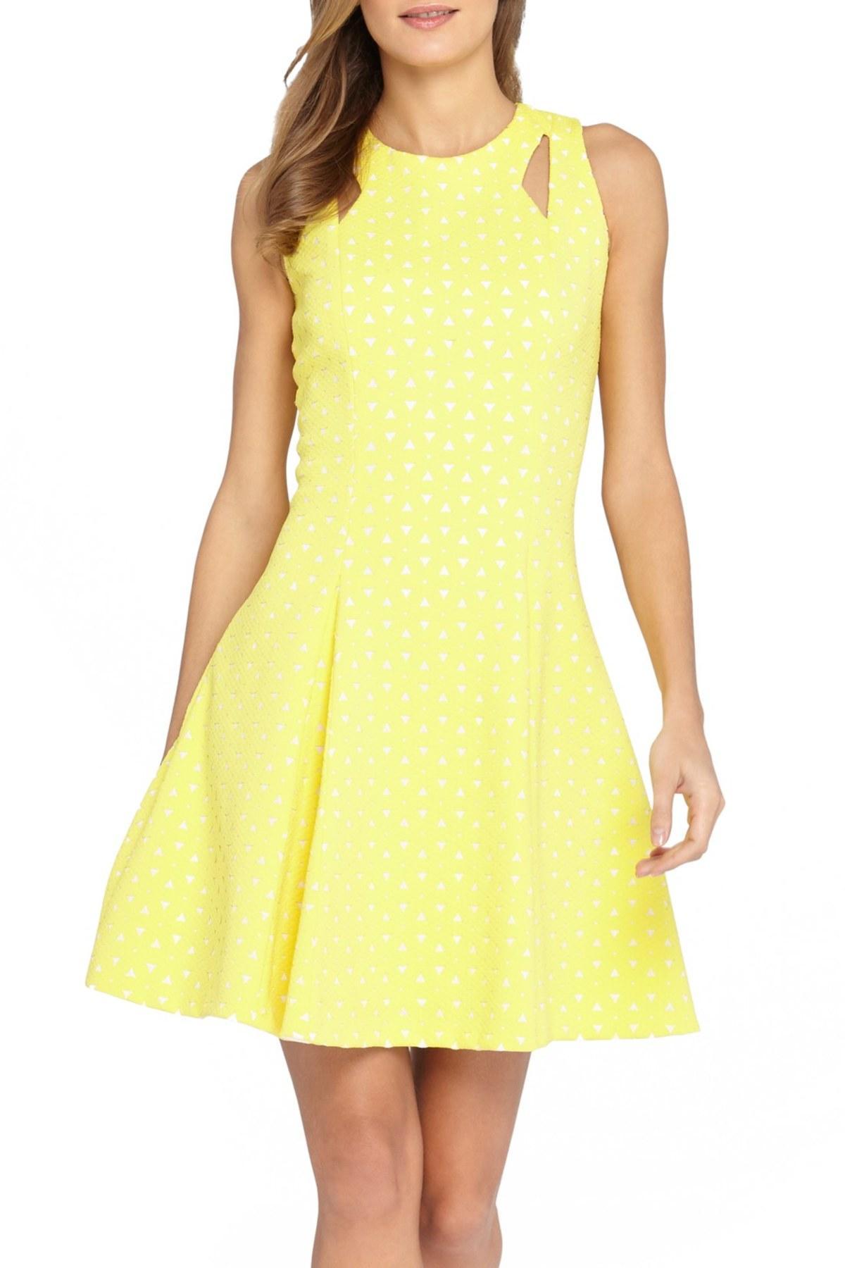 Lyst Tahari Laser Cut Scuba Fit Amp Flare Dress In Yellow