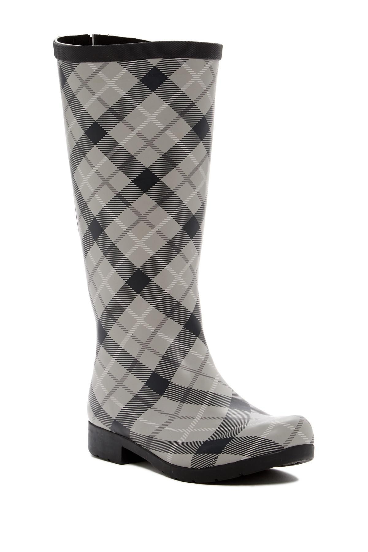 c790eff98ab8 Lyst - Chooka Flex Fit Elastic Plaid Tall Waterproof Rain Boot ...