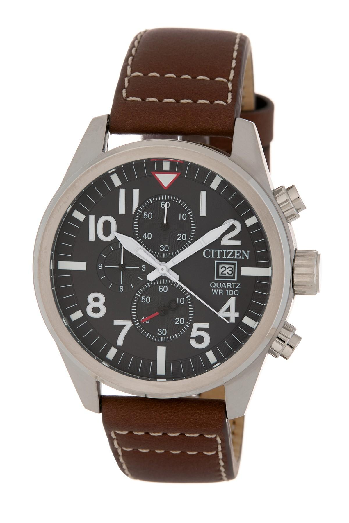 f35d3fdea Citizen - Brown Men's Chronograph Leather Watch, 43mm for Men - Lyst. View  fullscreen