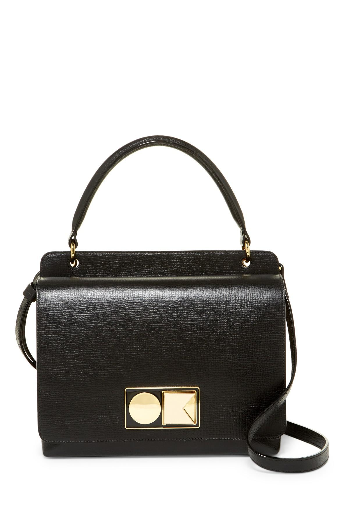 12fbdc5014 Orla Kiely Double Robin Leather Handbag in Black - Lyst