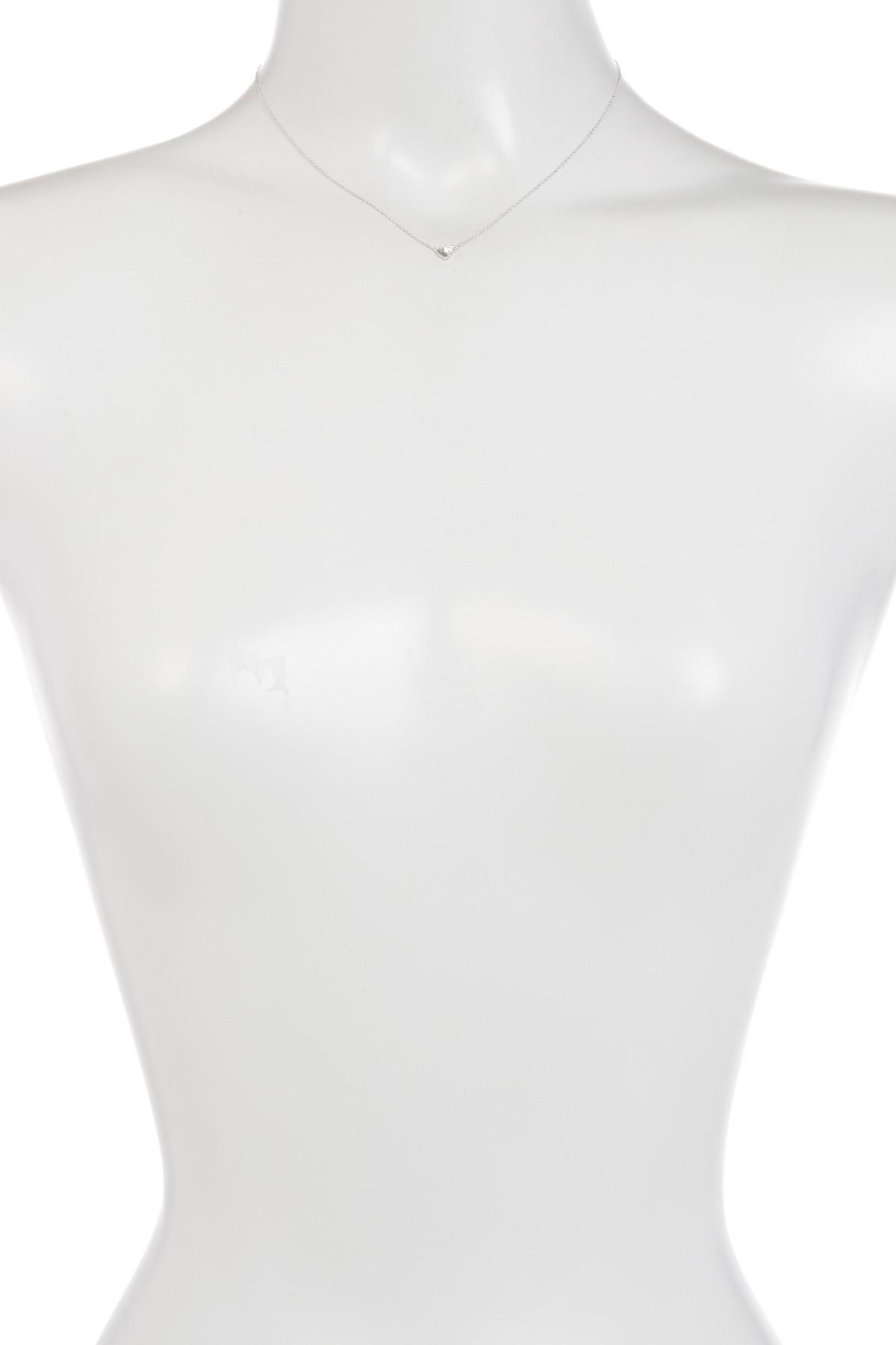 505b08885 Gucci 18k White Gold Trademark Diamond Heart Necklace - Lyst