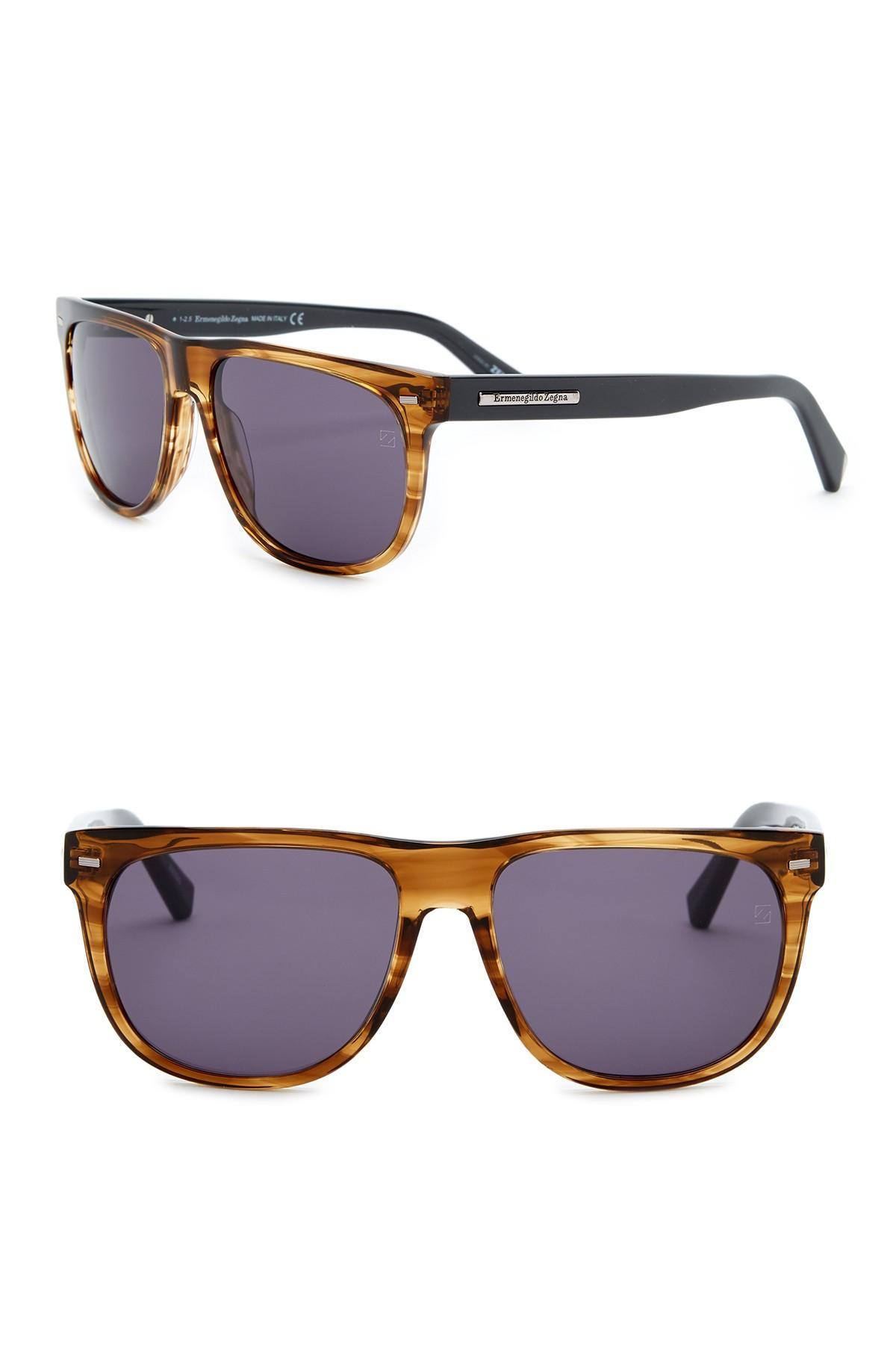 9adeff242a10 Ermenegildo Zegna - Brown Square 56mm Acetate Frame Sunglasses for Men -  Lyst. View fullscreen