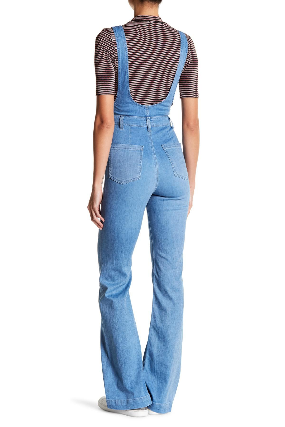 ec2e2f9870bc Lyst - AG Jeans Lolita Flare Overall in Blue