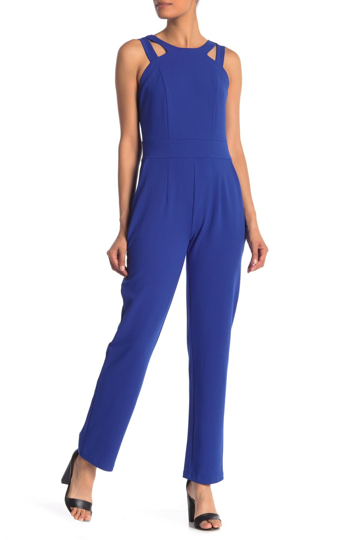2e6e9b3ae1b Lyst - Spense Solid Woven Jumpsuit in Blue