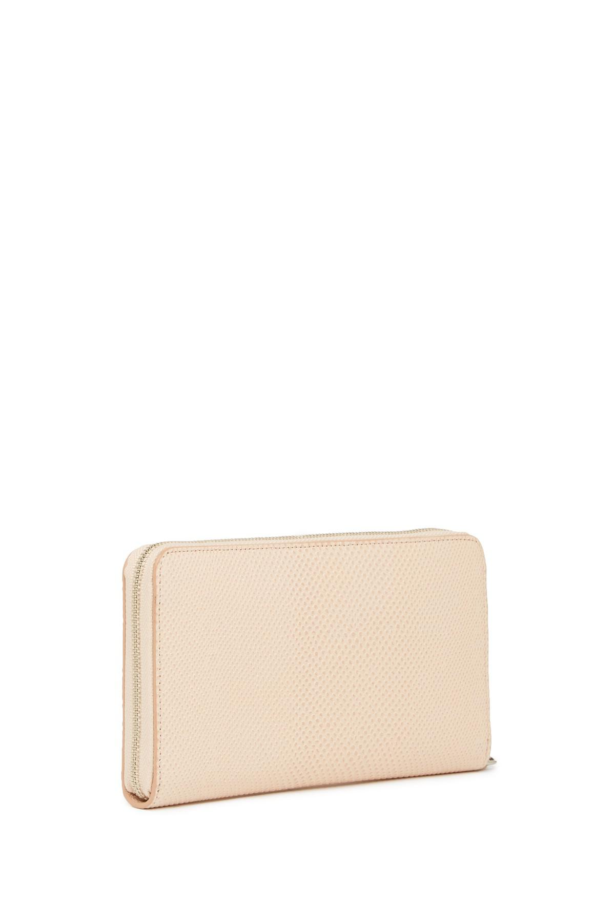 d228414e7aae Lyst - Halogen Leather Zip Around Wallet in Pink