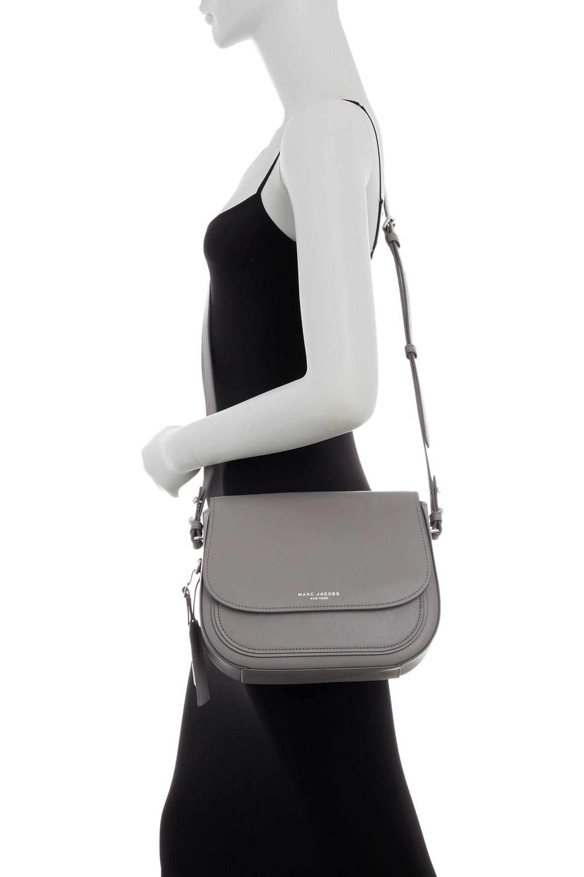 e88eae59571 Marc Jacobs Rider Leather Crossbody Bag in Gray - Lyst