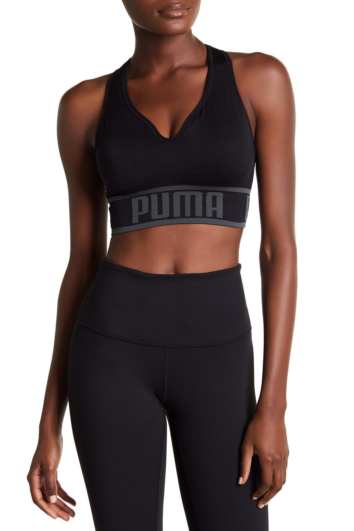 f921aa899a PUMA - Black Seamless Apex Sports Bra - Lyst. View fullscreen