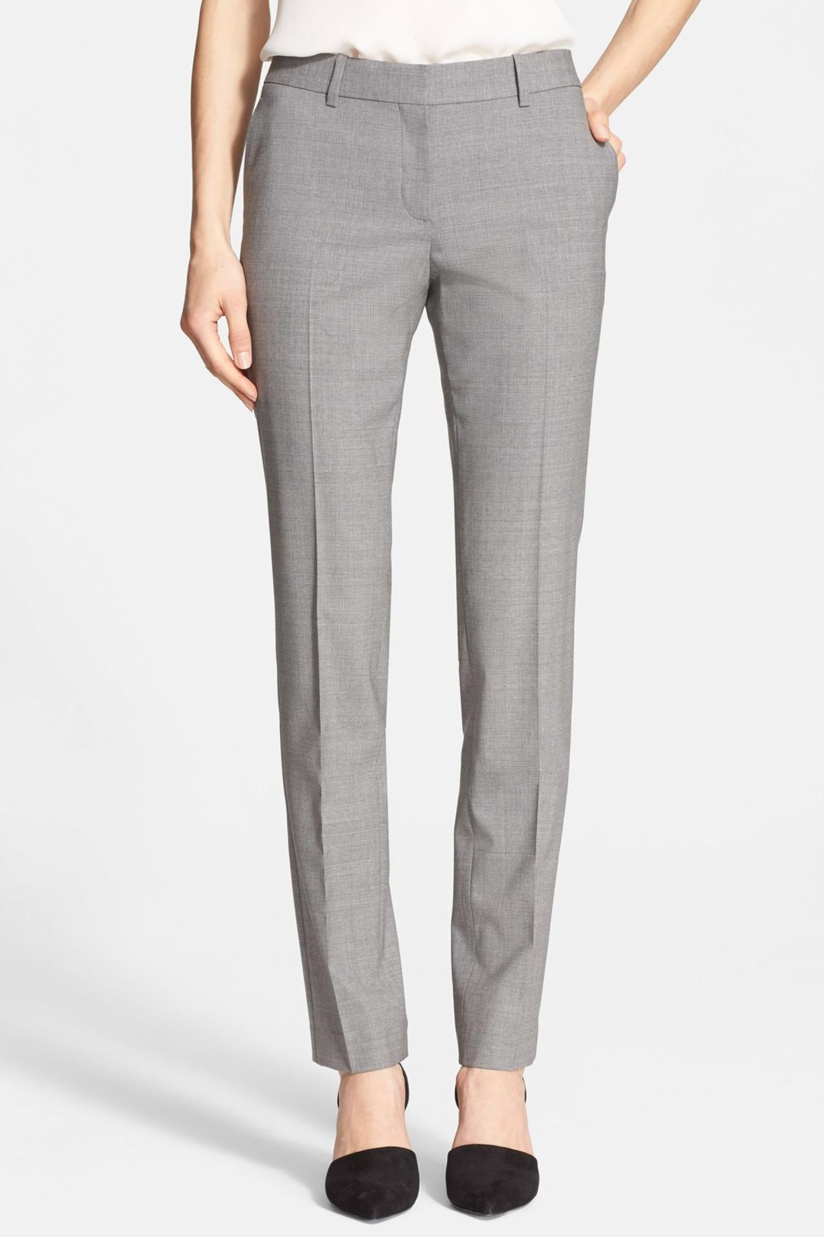 e3febacc43 Lyst - Theory Super Slim Edition Stretch Wool Blend Pant in Gray
