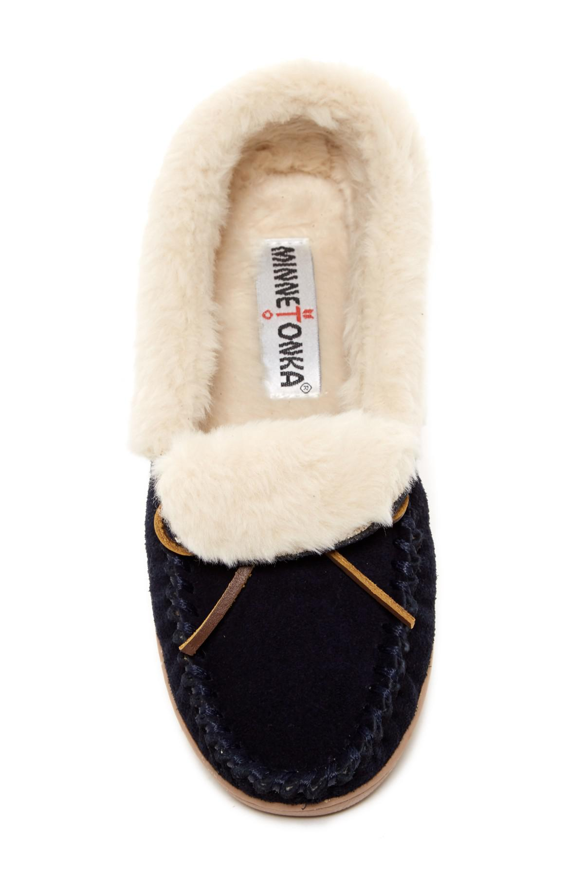 2649d076759 Lyst - Minnetonka Trina Faux Fur Lined Folded Suede Trapper in Blue