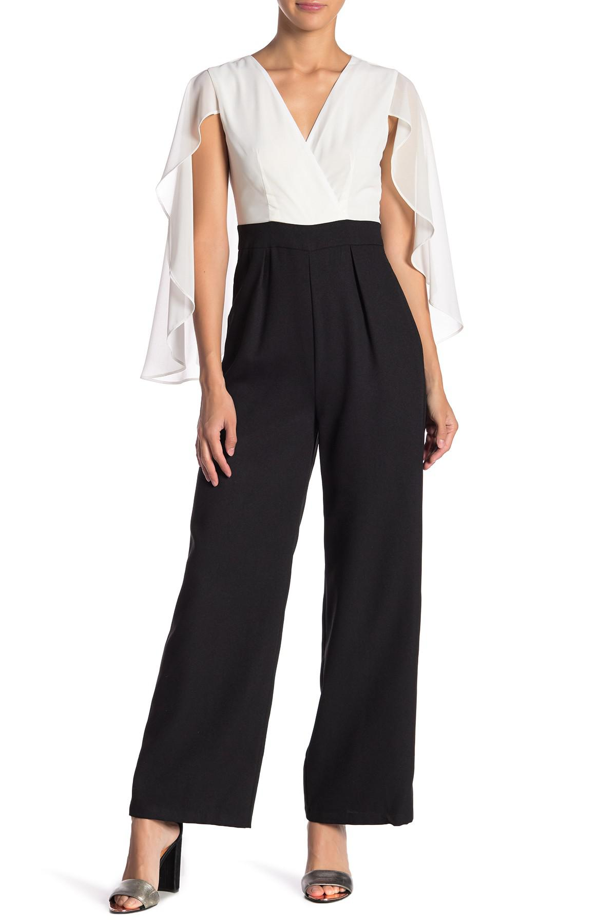 d874a450ca93 Lyst - FAVLUX Jumpsuit With Cape in Black