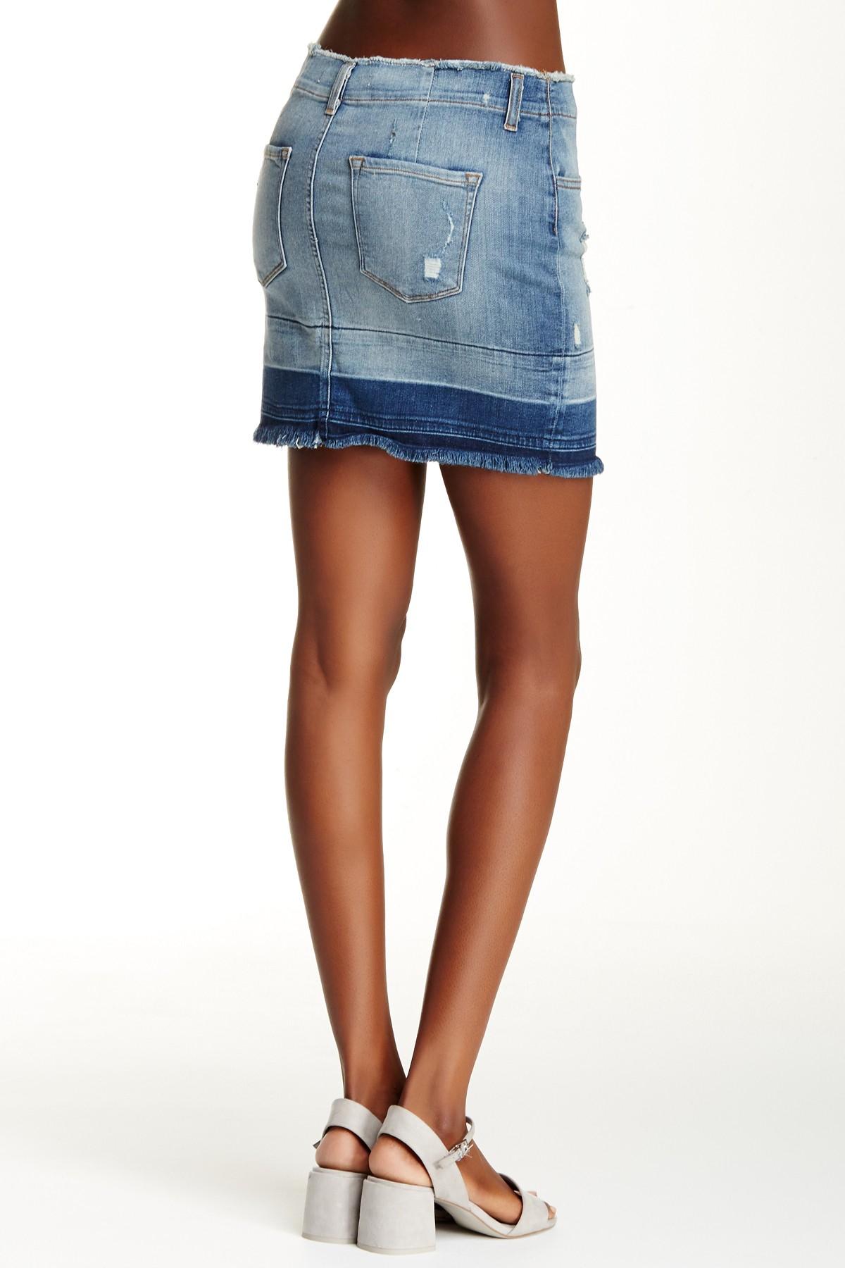 j brand distressed denim skirt in blue lyst