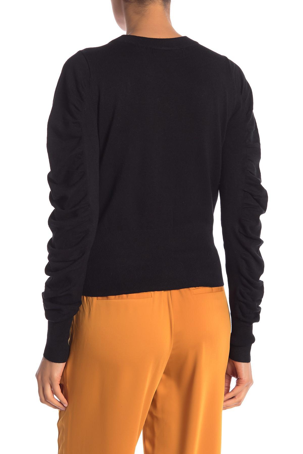 Vero Moda - Black Gathered Sleeve Knit Sweater - Lyst. View fullscreen 30c919ad0ac3