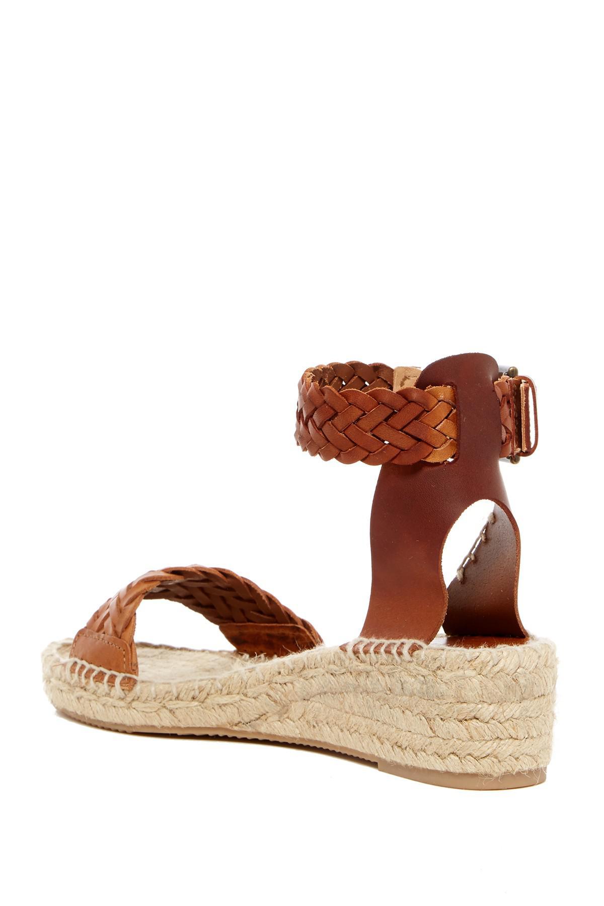 32800562fbf Lyst - Soludos Woven Open Toe Demi Wedge Sandal in Brown