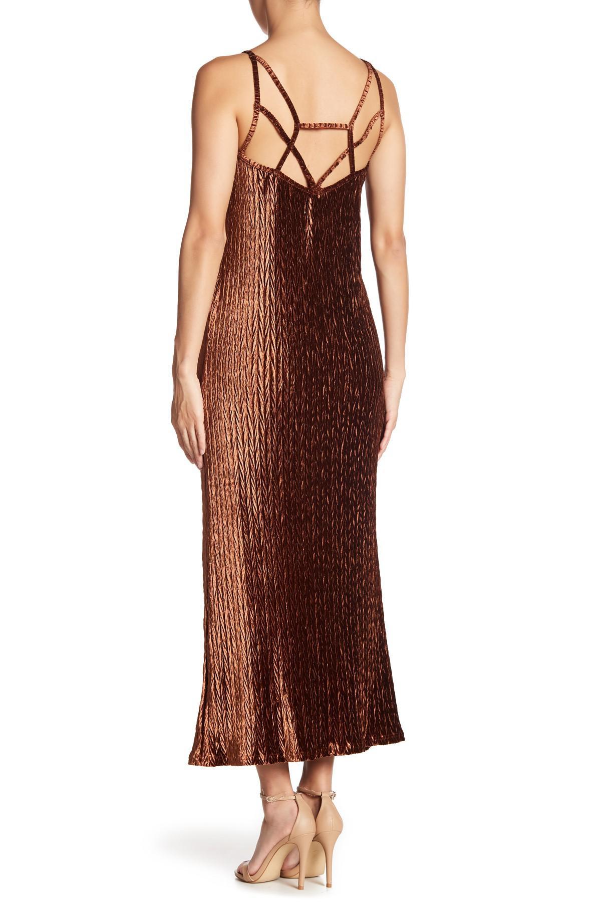 d3bc2e330e36 Lyst - Moon River Velvet Maxi Dress in Brown