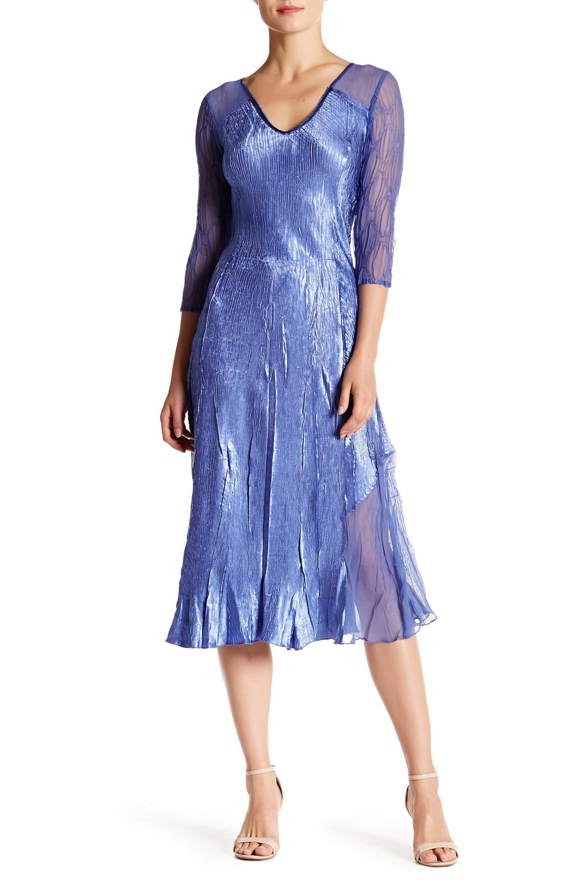 2c5f64bc42 Komarov Sequined V-neck Midi Dress in Blue - Lyst