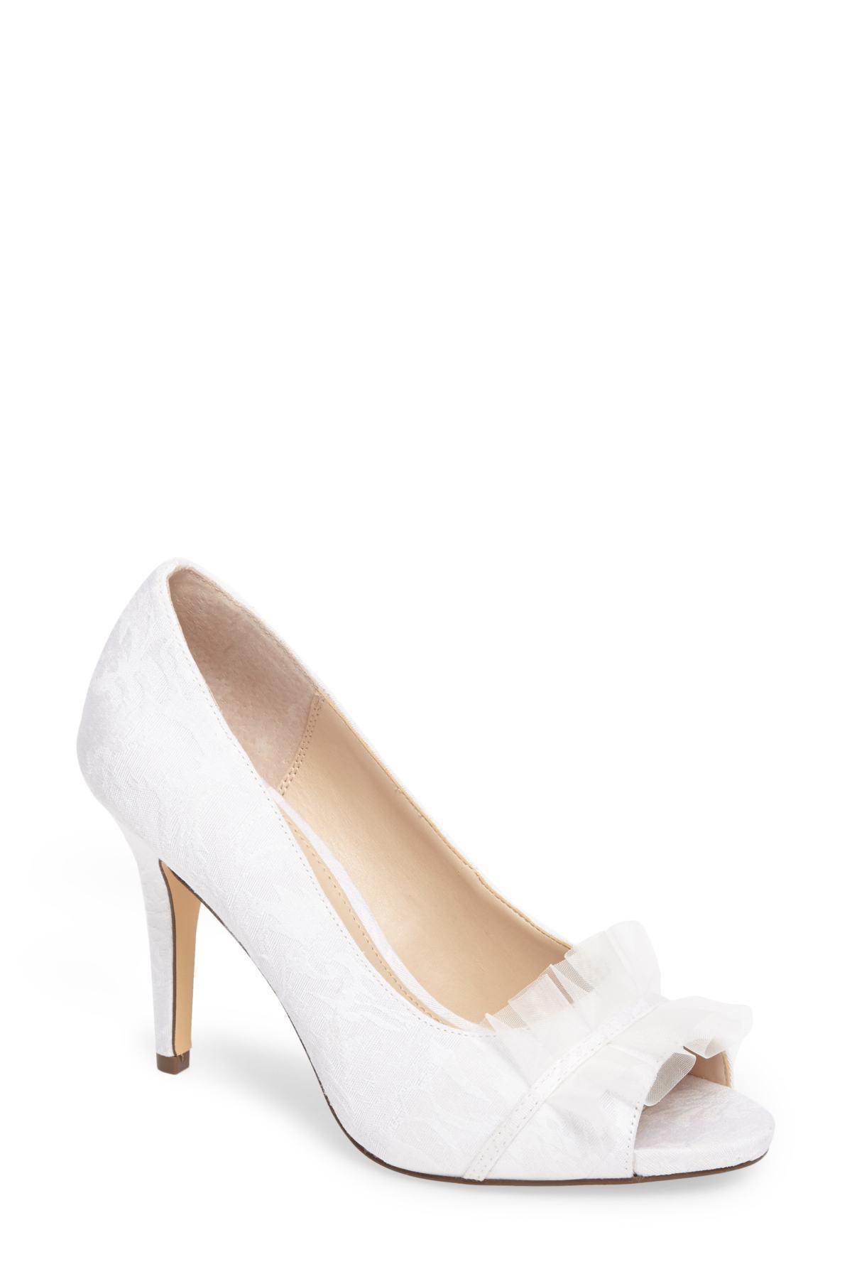 a58c79b2f7d5 Lyst - Nina Raizel Ruffle Open Toe Pump (women) in White