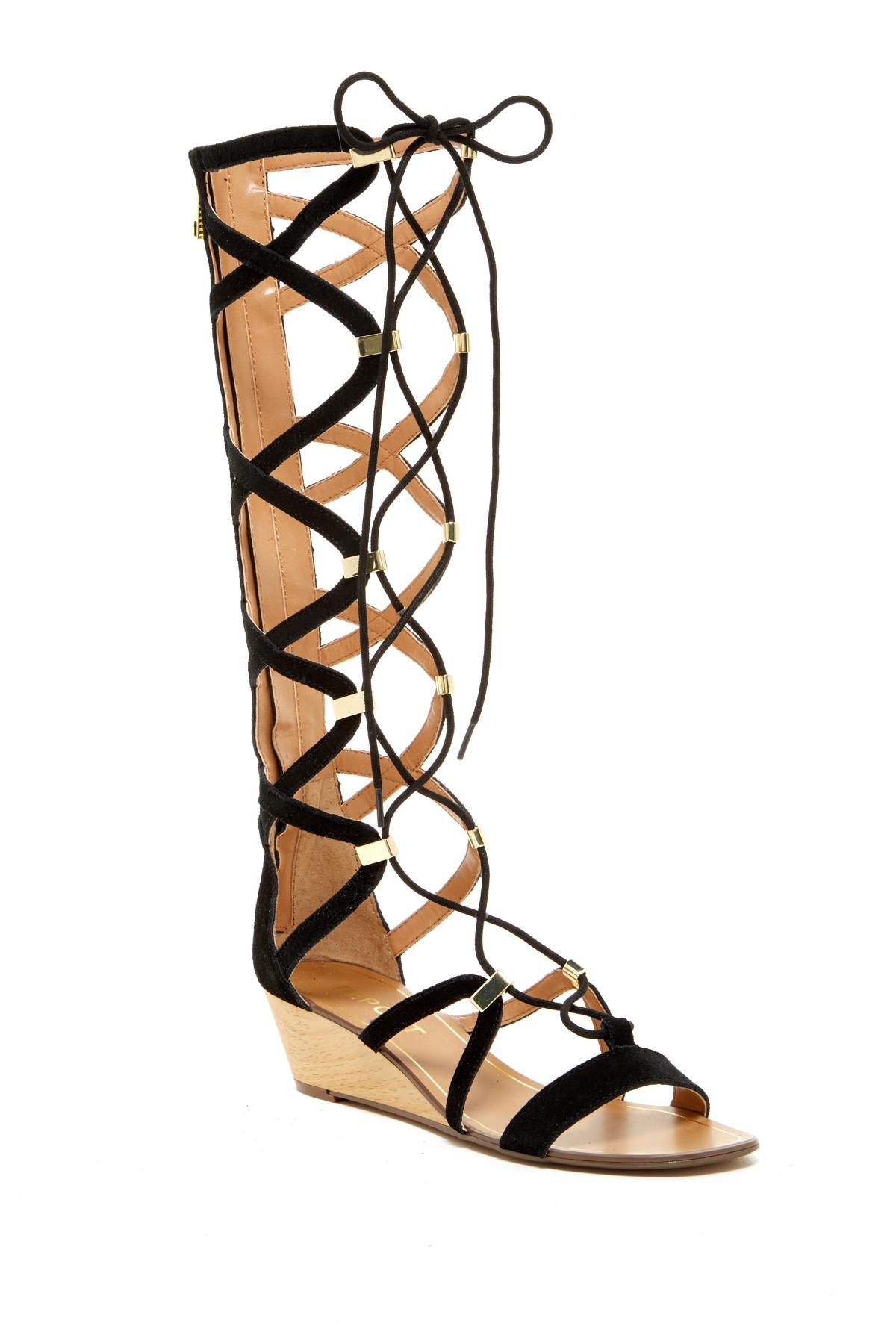 99f65c3301adf Lyst - Report Monterie Leather Gladiator Wedge in Black