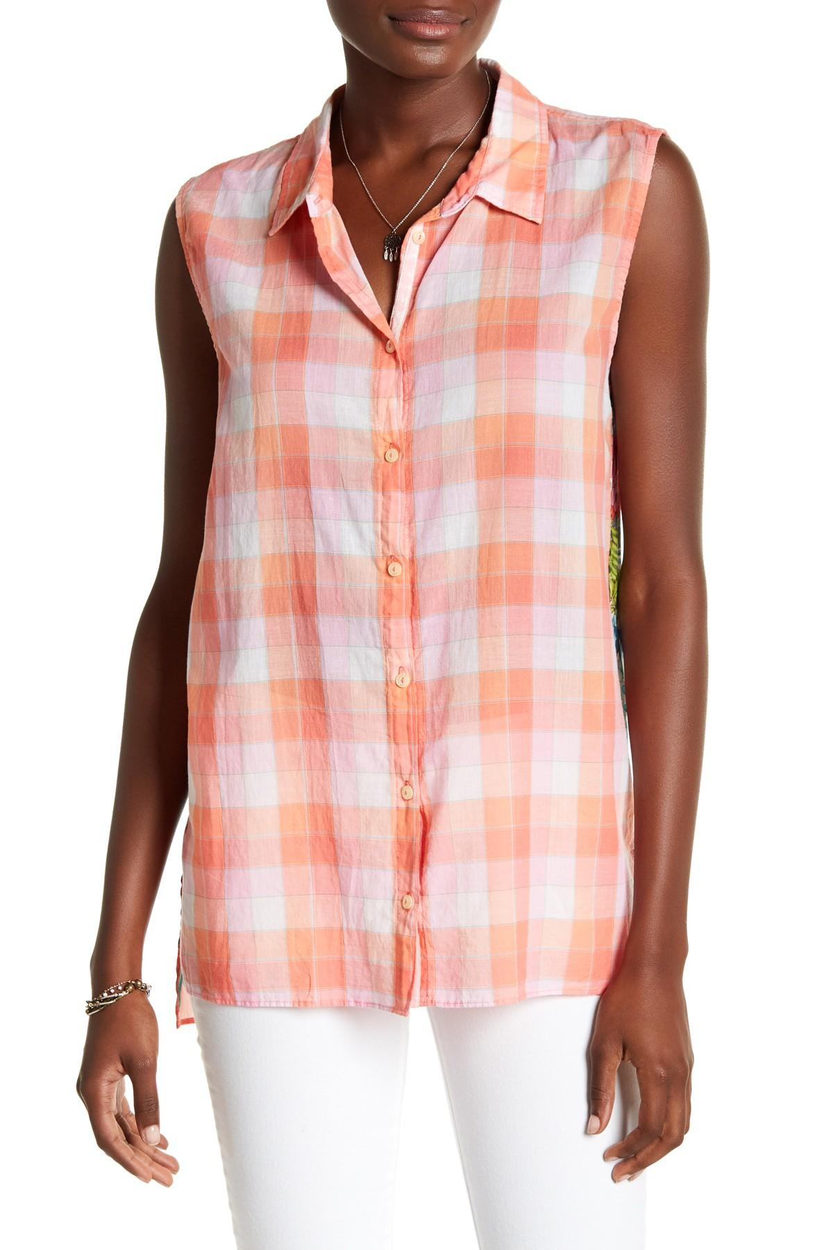 Lyst johnny was silk blend button tank for Johnny was silk shirt