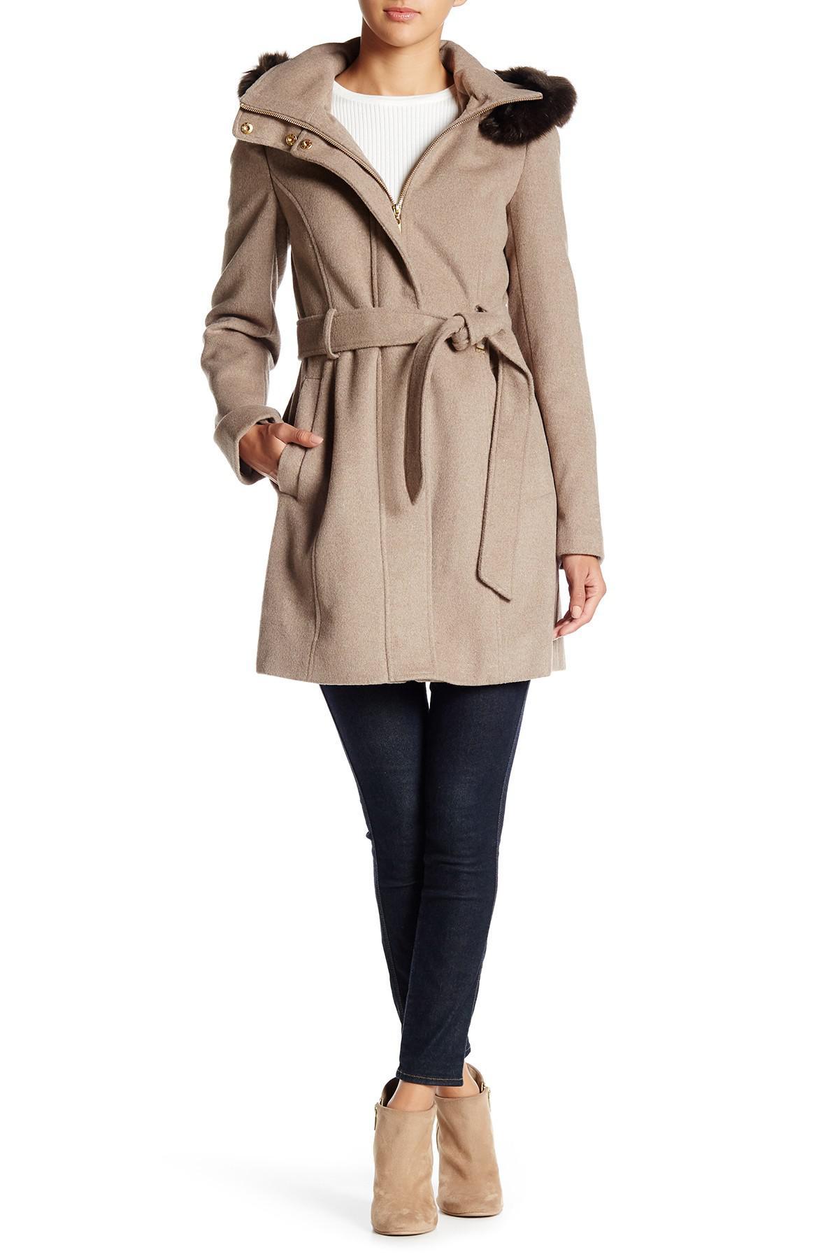 dd03d7831d1 Lyst - Ellen Tracy Faux Fur Hood Wool Blend Coat in Natural