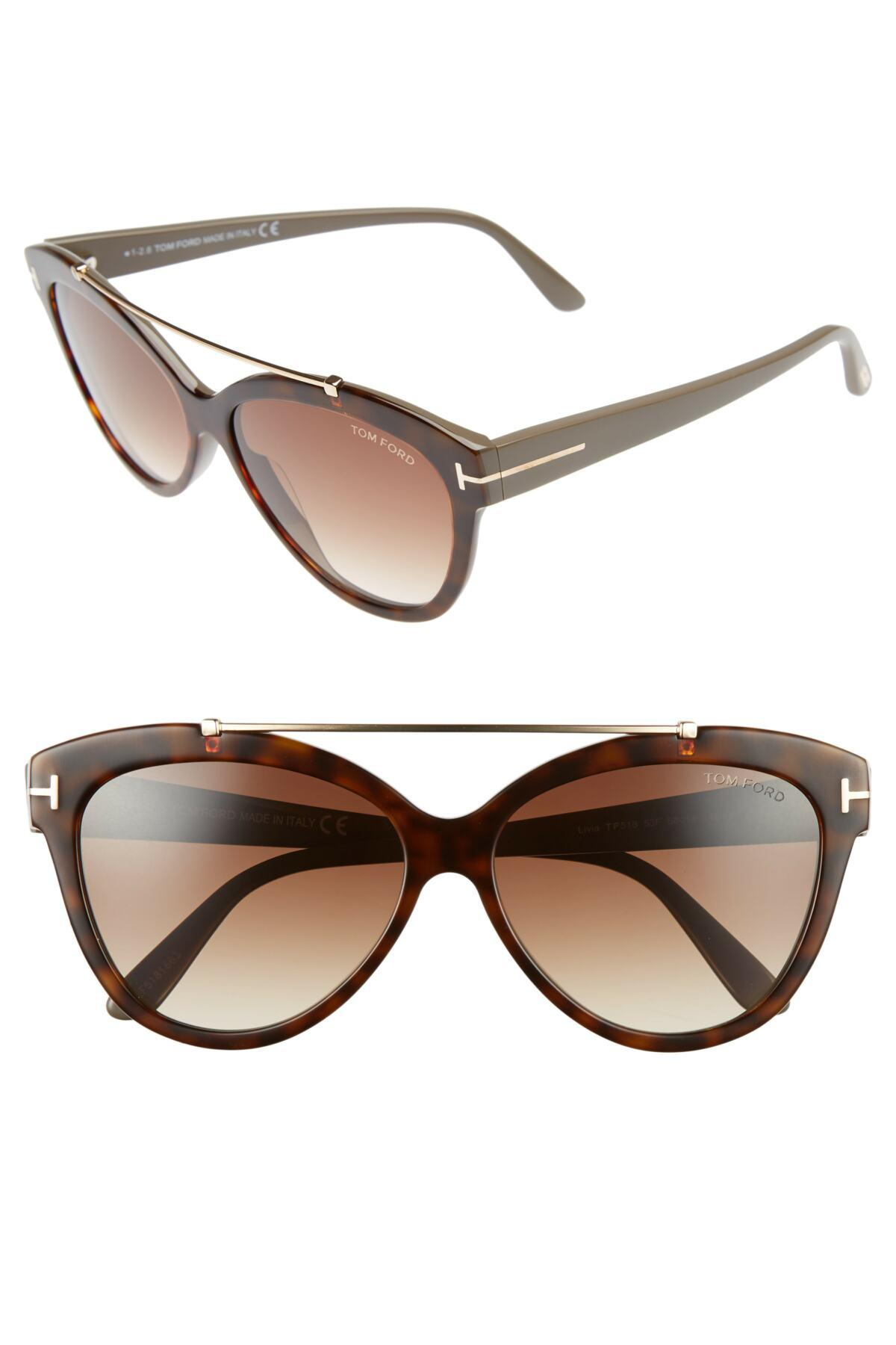 34b1b0b711c Lyst - Tom Ford Livia 58mm Gradient Butterfly Sunglasses in Brown