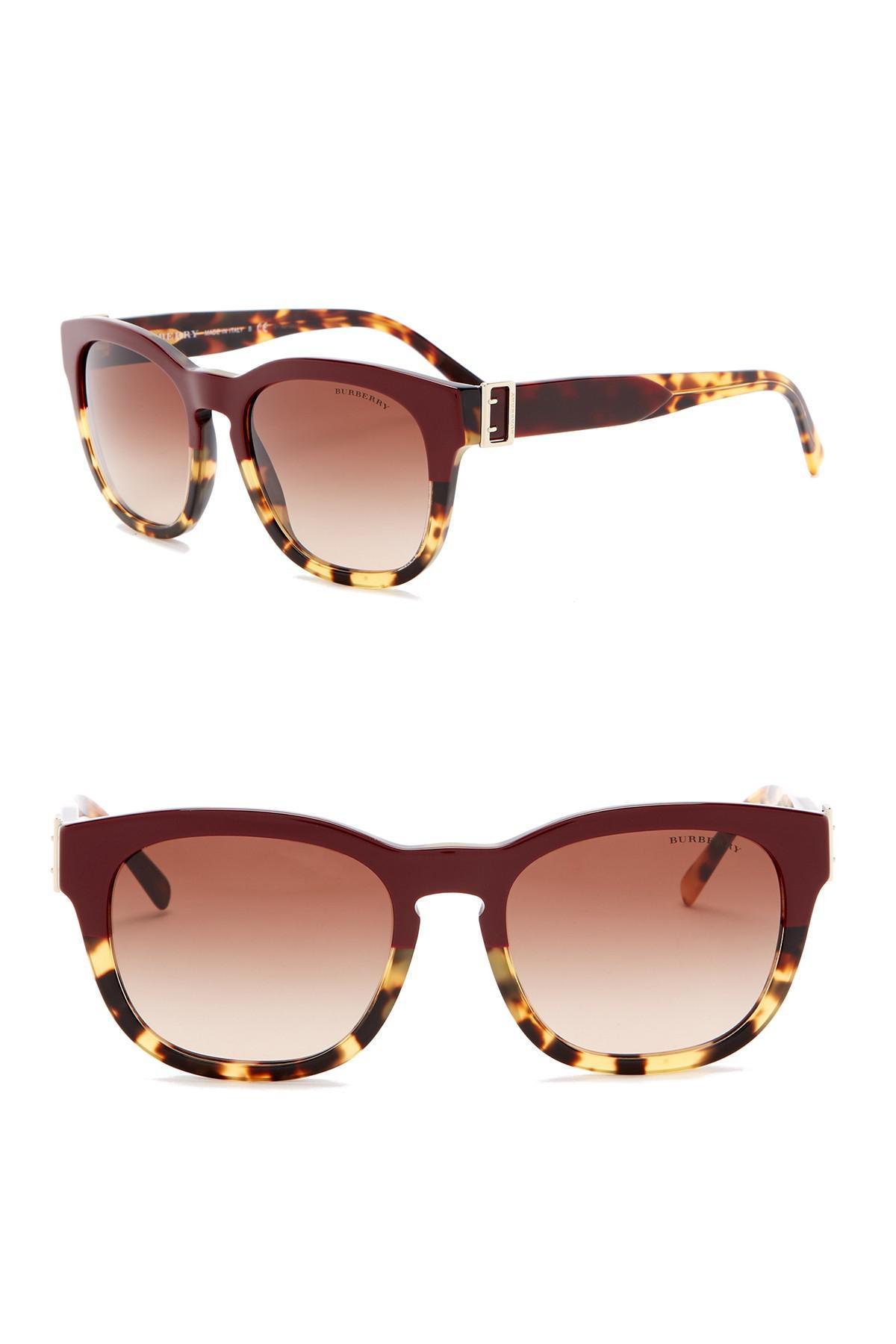 cab24076fd8 Burberry - Brown 54mm Round Sunglasses - Lyst. View fullscreen