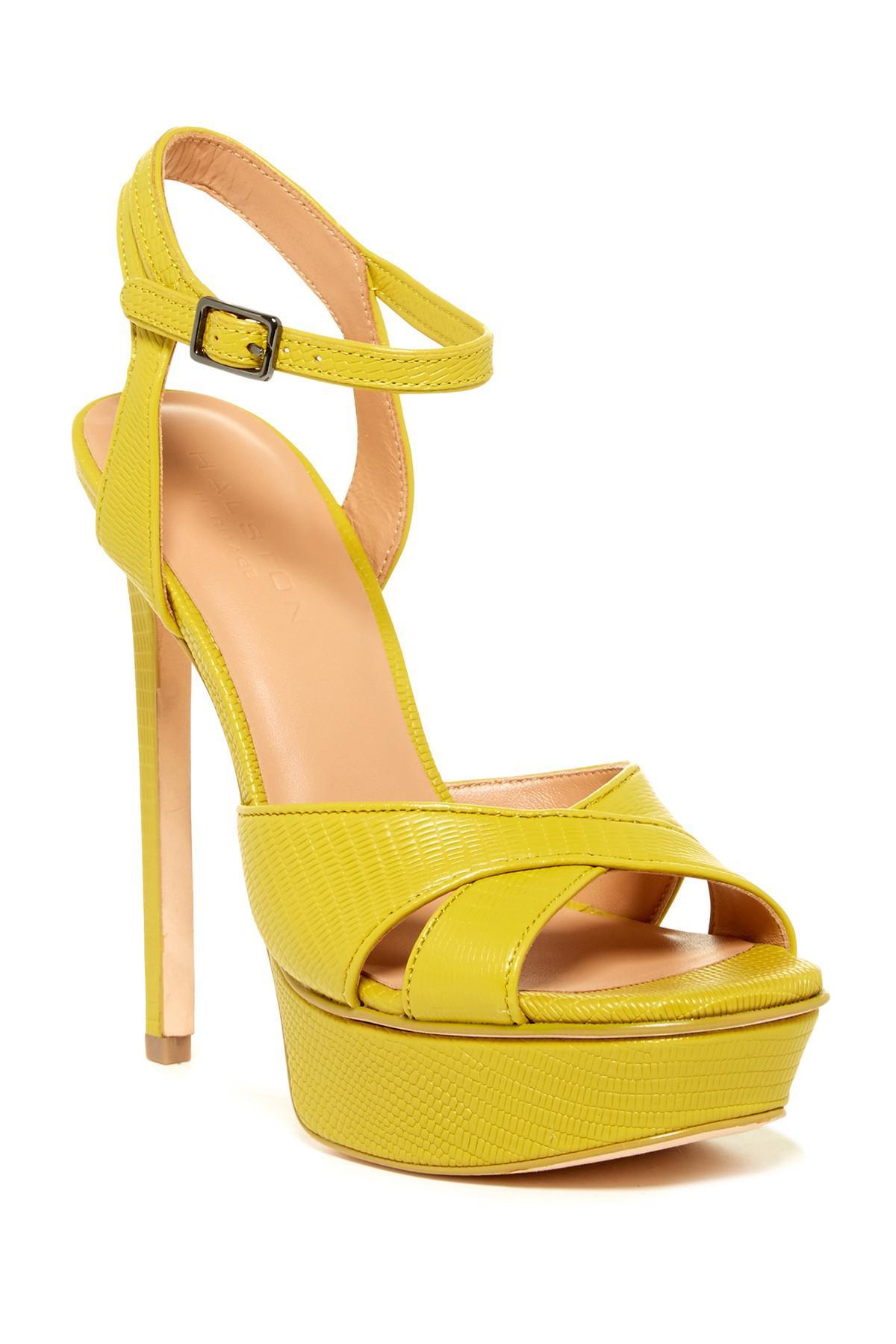 873b6e8a495b Lyst - Halston Naomi Reptile Embossed Platform Sandal in Yellow