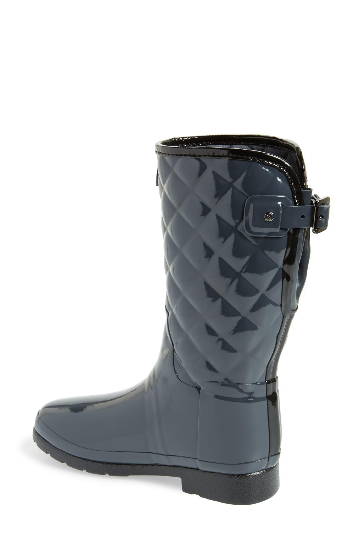 8100a04006e4 Hunter - Multicolor Refined High Gloss Quilted Short Waterproof Rain Boot  (women) - Lyst. View fullscreen